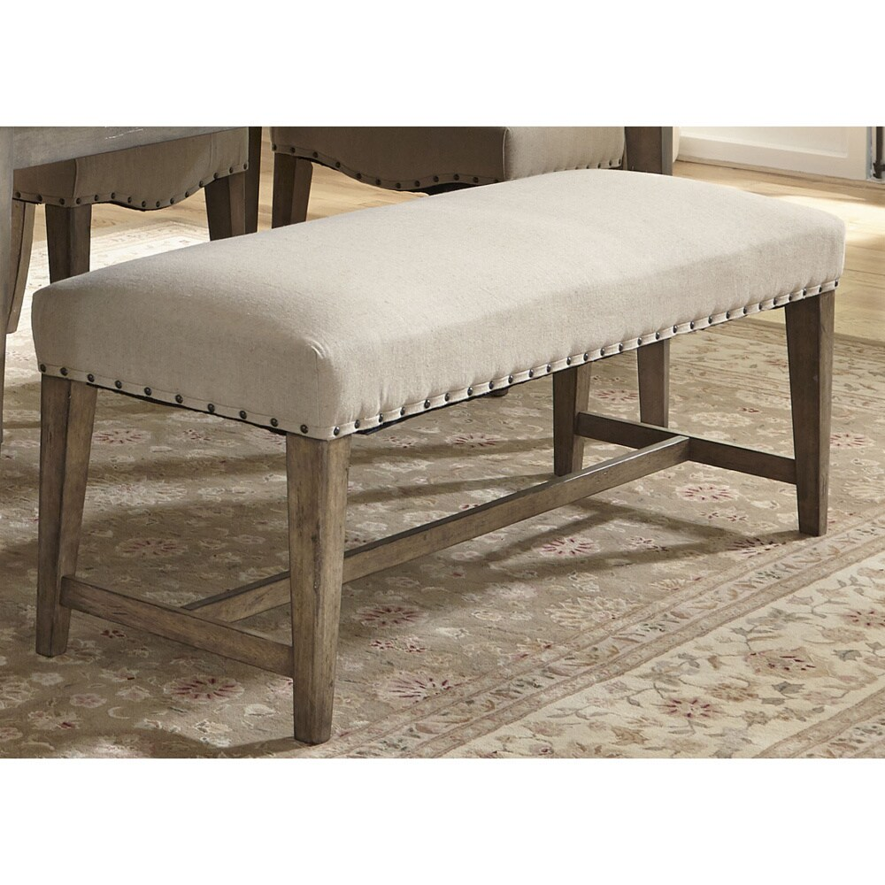 Weatherford Grey Upholstered Nailhead Dining Bench   Free Shipping Today    Overstock.com   16263570