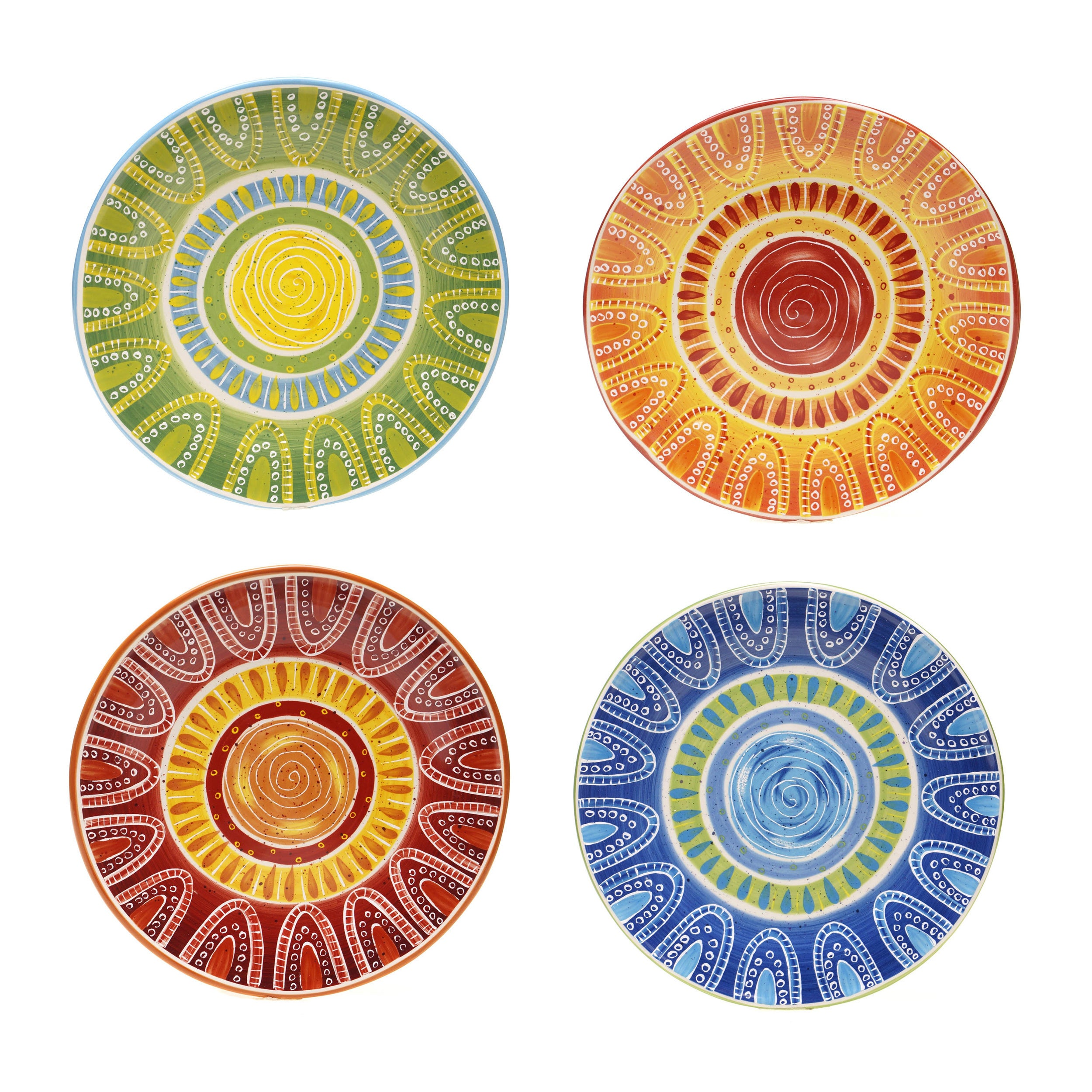 Shop Certified International Hand Painted Tapas Assorted Ceramic Dinner  Plates (Set Of 4)   Free Shipping Today   Overstock   9071719