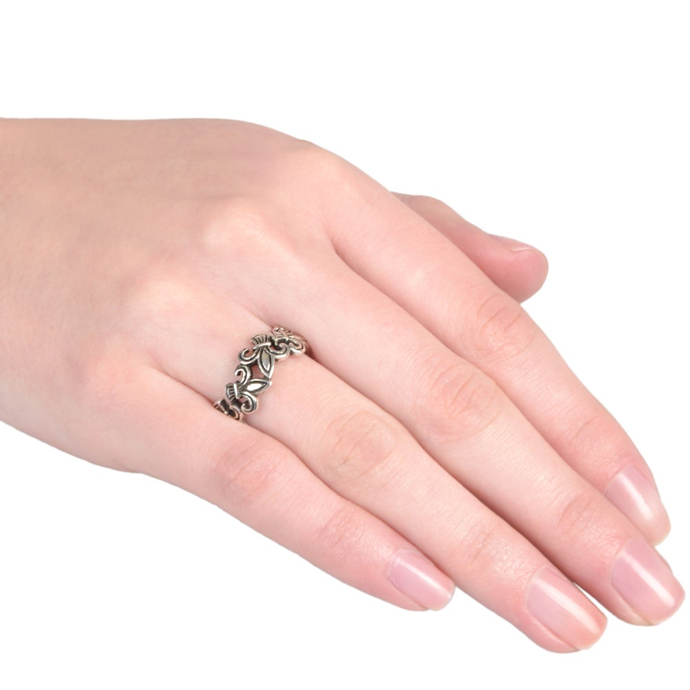 Journee Collection Sterling Silver Fleur-de-lis Ring - Free Shipping ...