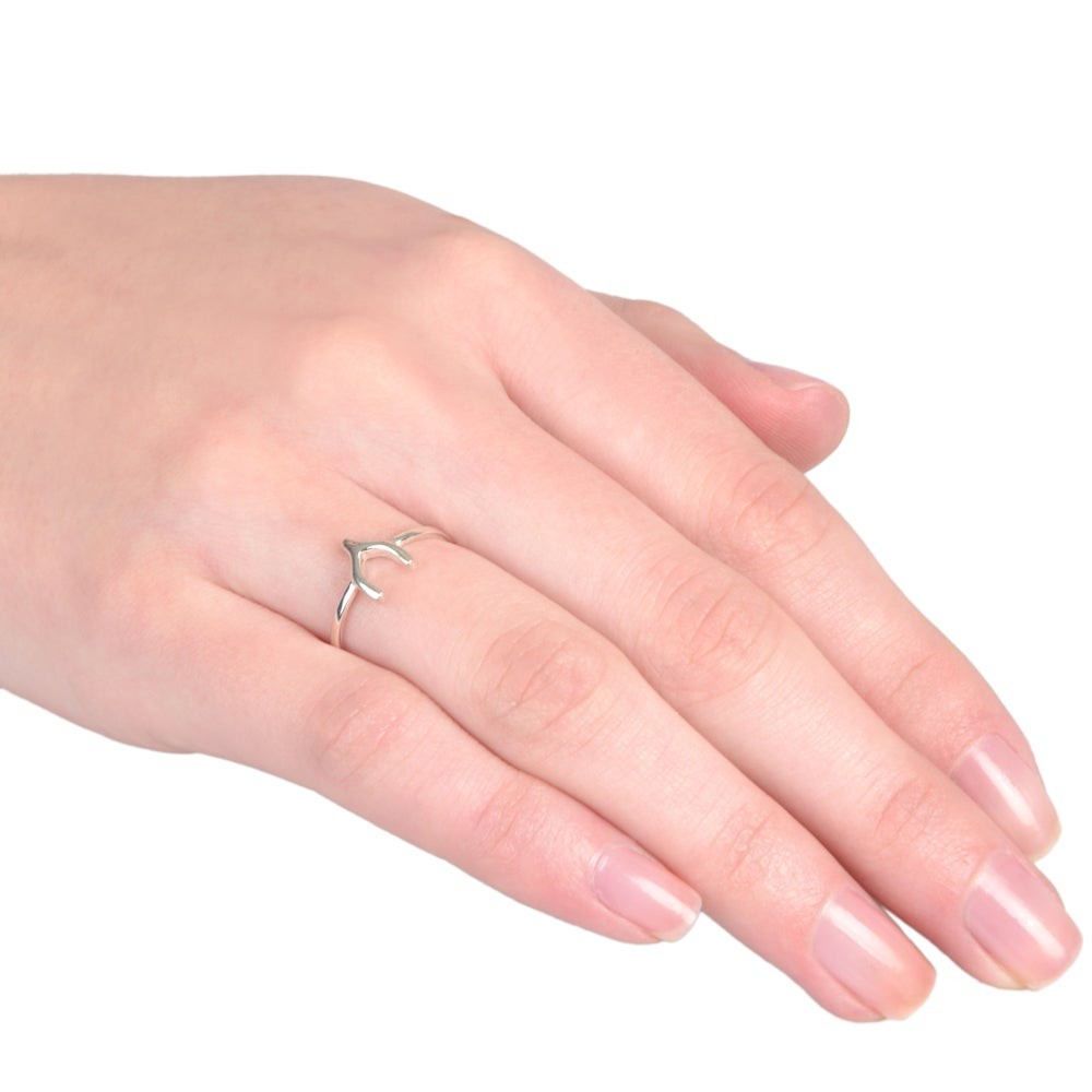 Journee Collection Sterling Silver Wishbone Ring - Free Shipping On ...