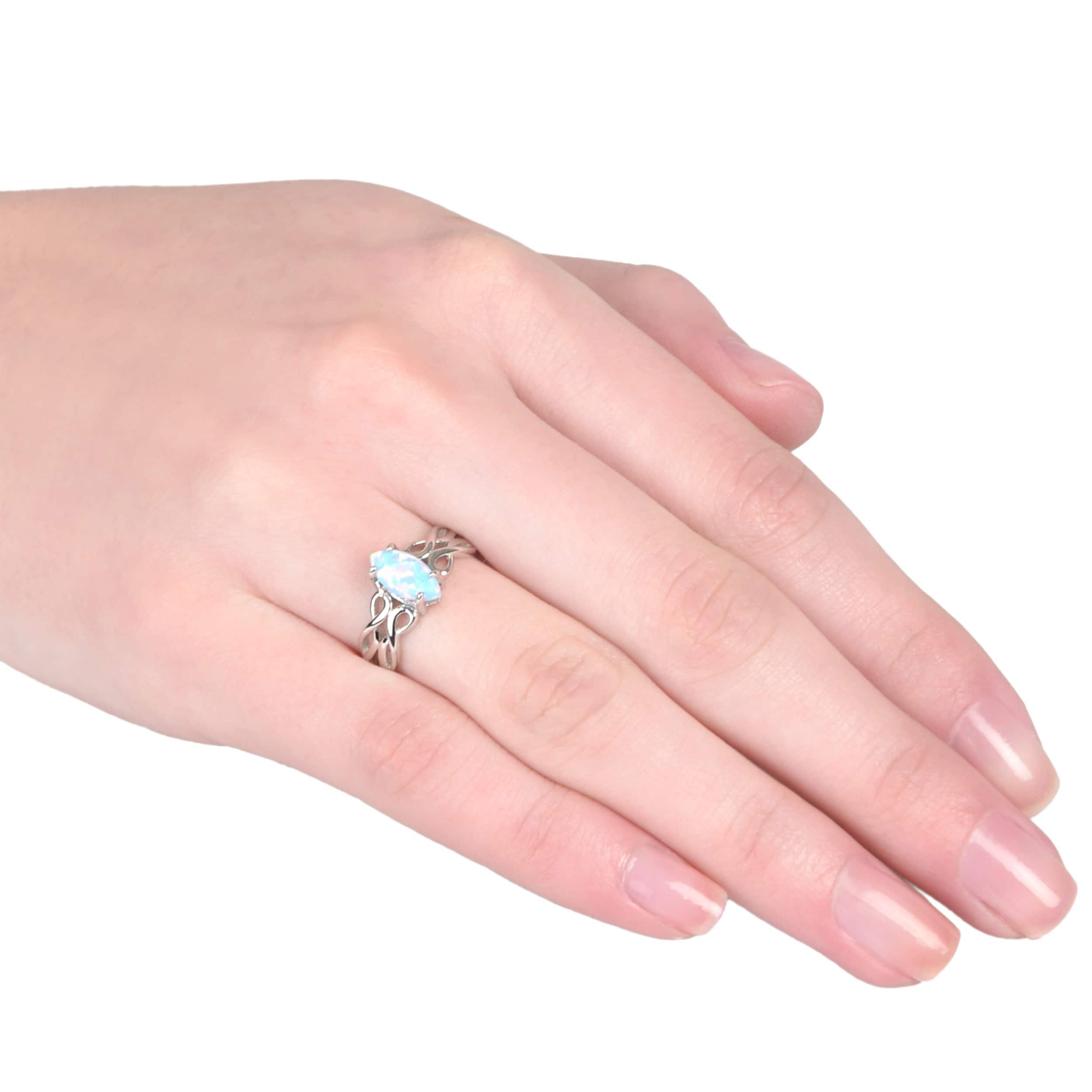 Journee Collection Sterling Silver Gemstone Celtic Design Ring ...
