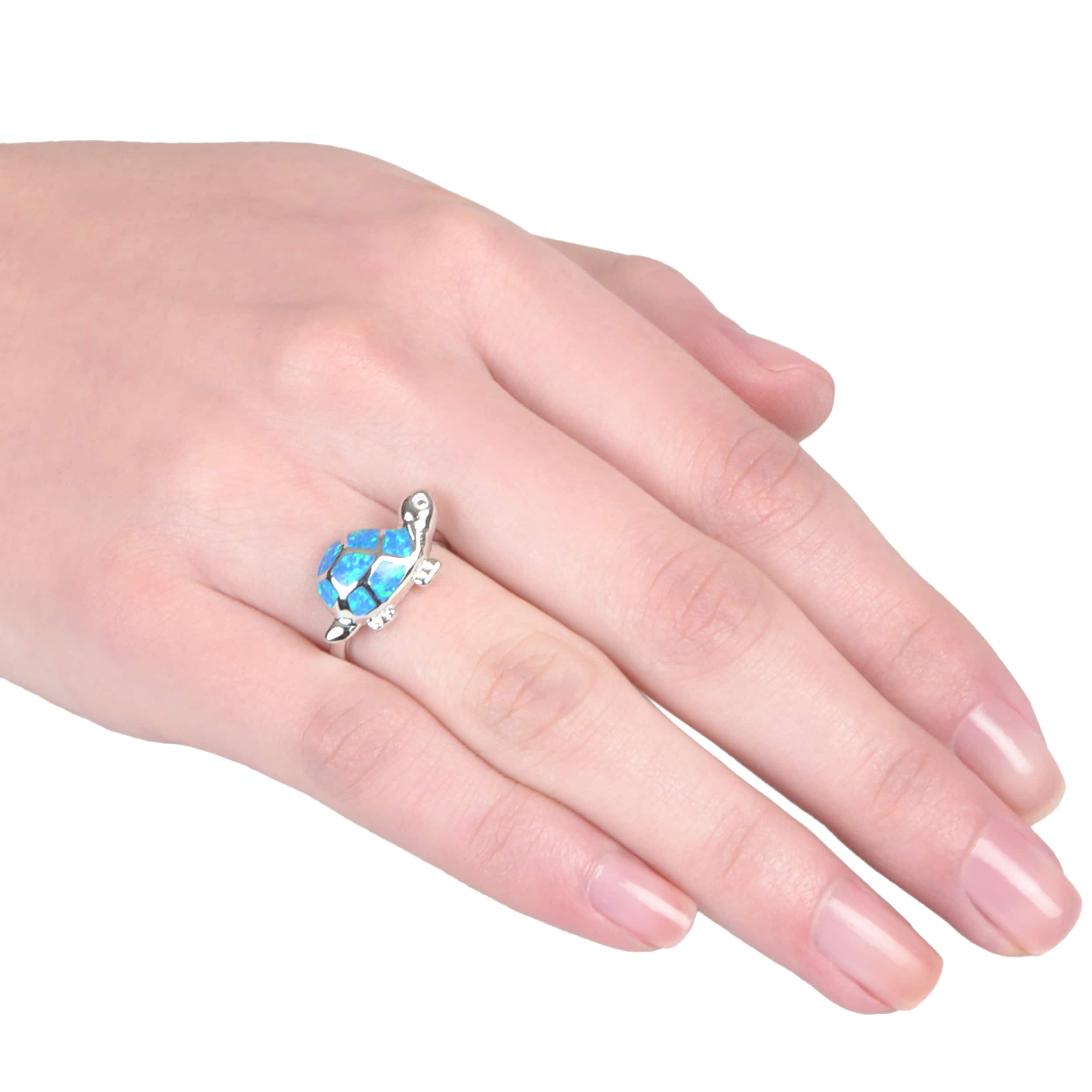 Journee Collection Sterling Silver Faux Opal Turtle Ring - Free ...