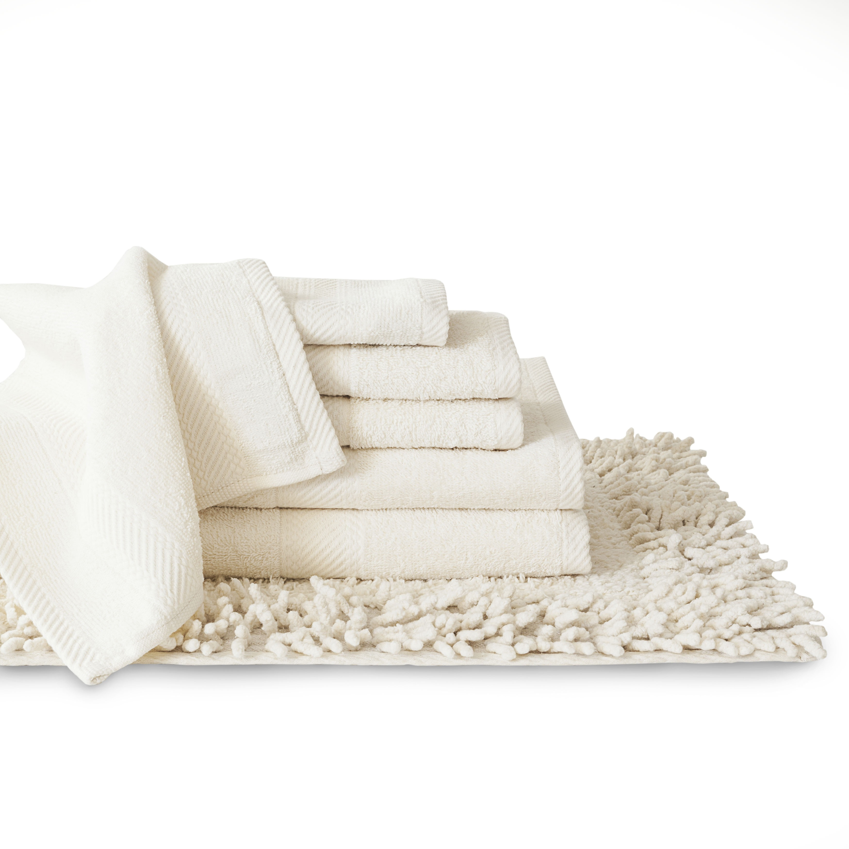 Cotton 7 Piece Matching Towel And Bath Rug Set   On Sale   Free Shipping On  Orders Over $45   Overstock   16269806