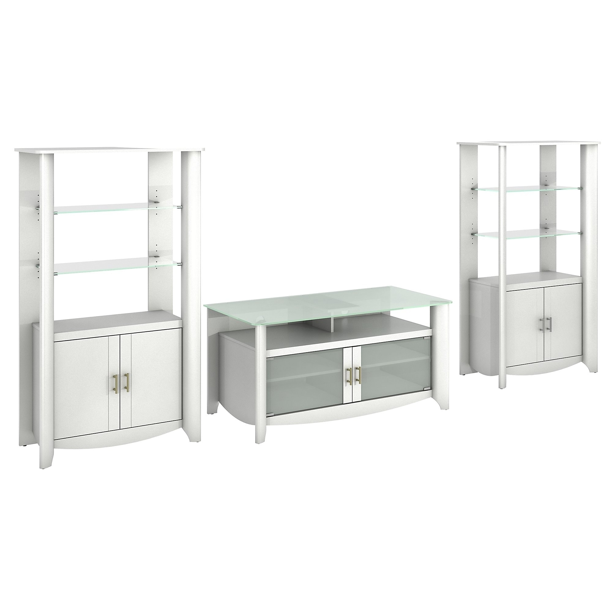 Shop Aero TV Stand and Set of 2 Tall Library Storage Cabinets with Doors - Free Shipping Today - Overstock.com - 9078539  sc 1 st  Overstock.com & Shop Aero TV Stand and Set of 2 Tall Library Storage Cabinets with ...