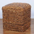 International Caravan 'Arizona' Square Hand-woven Abaca Ottoman with Cushioned Top