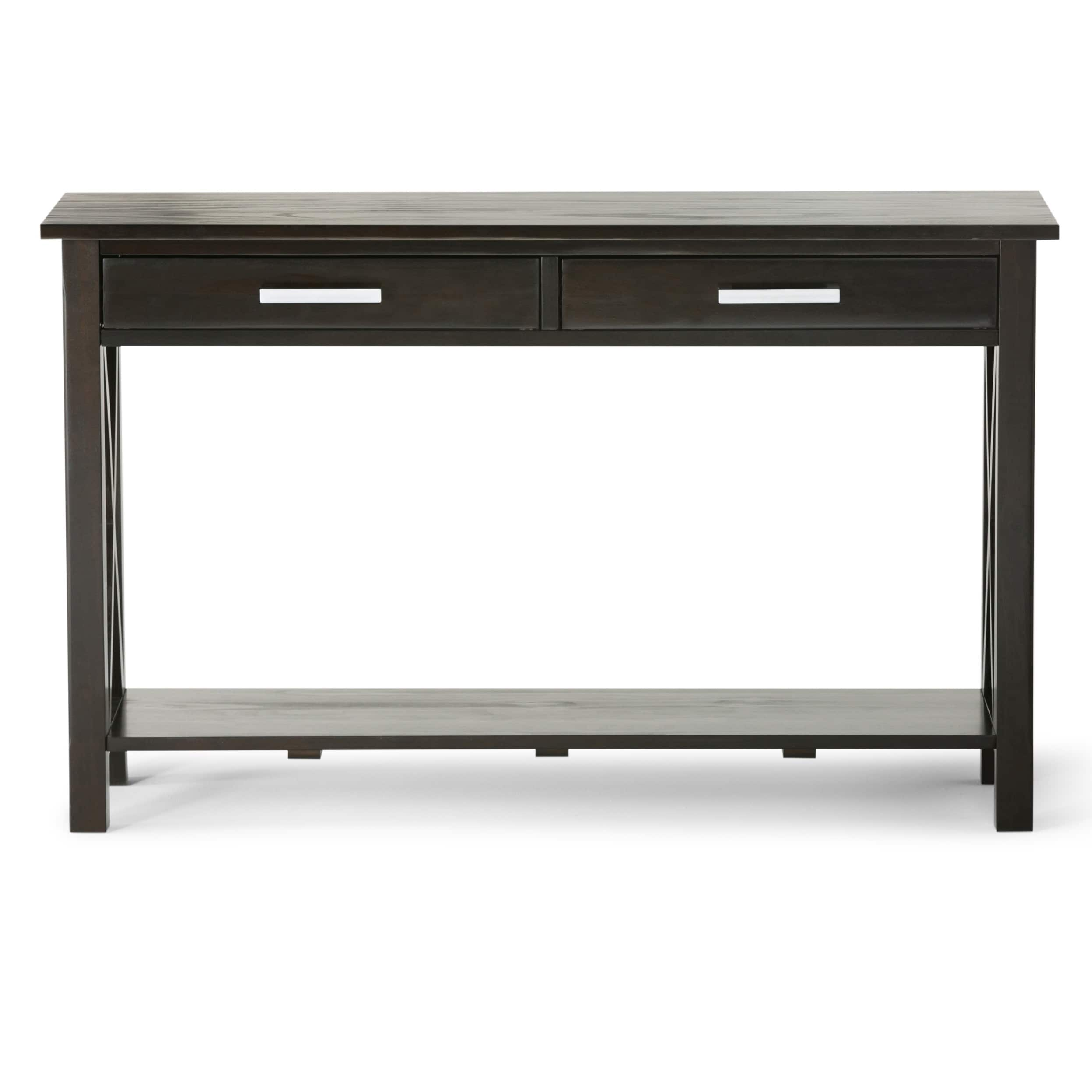 WyndenHall Waterloo Dark Walnut Stained Pine 2 Drawer Console Sofa Table    Free Shipping Today   Overstock   16270682