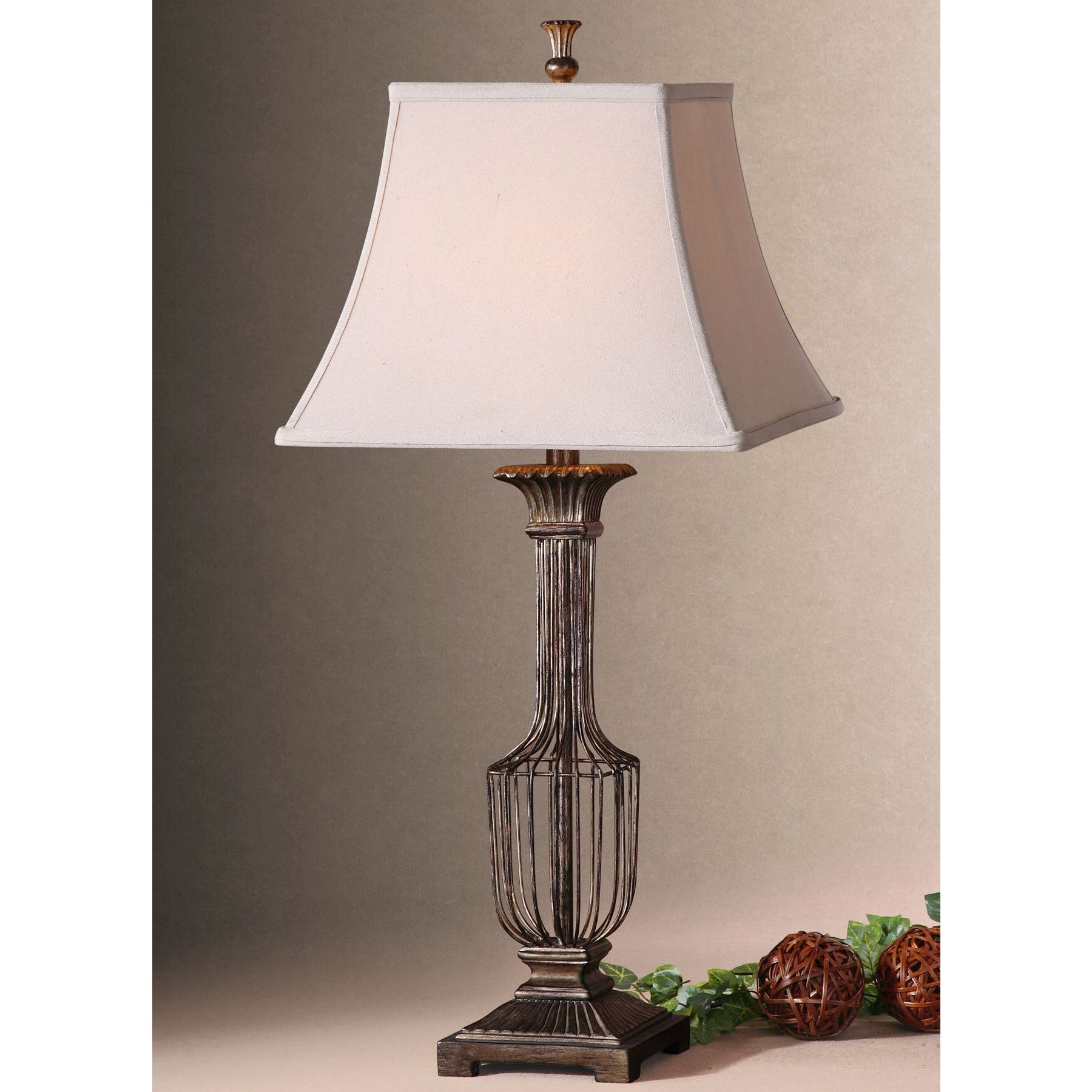 Uttermost anacapri antiqued metal wire and fabric table lamp free uttermost anacapri antiqued metal wire and fabric table lamp free shipping today overstock 16270814 greentooth Images