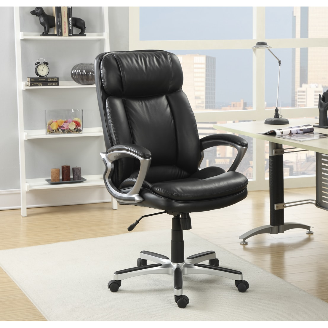 Serta Executive Smooth Black And Tall Puresoft Faux Leather Office Chair Free Shipping Today 9079992