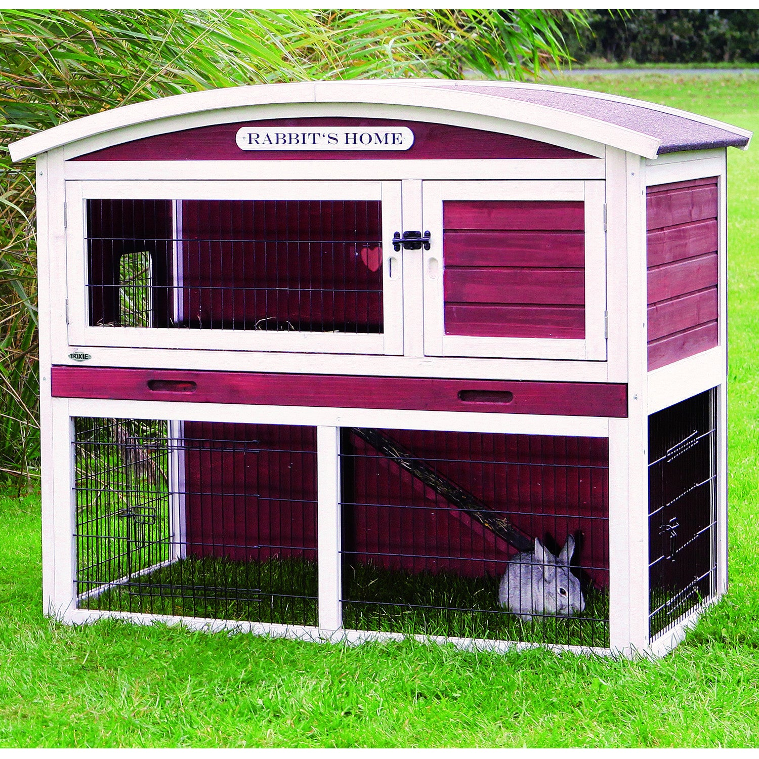 free brown supplies sloped today white with trixie pet affe shipping hutch overstock product rabbit roof m