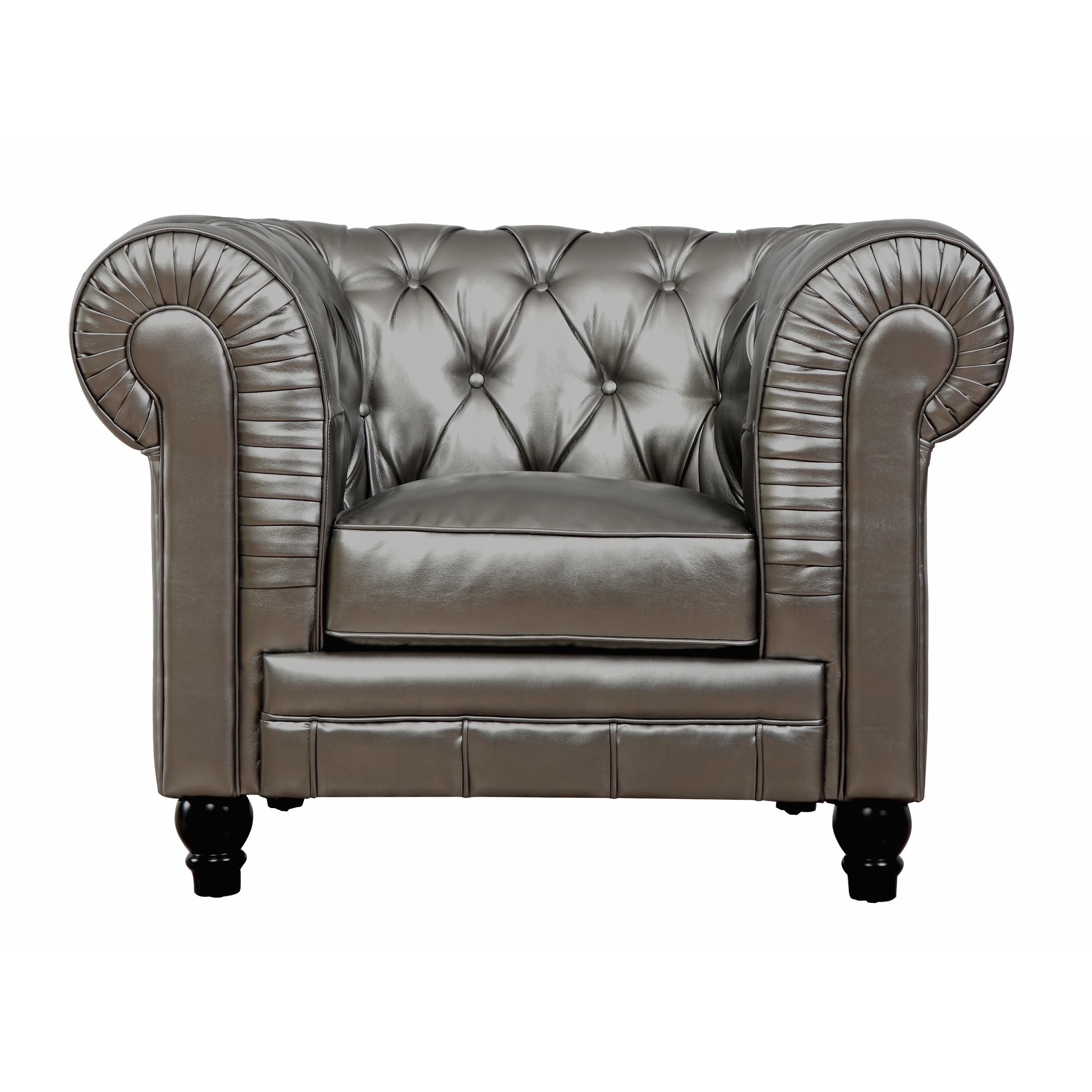Zahara Silver Leather Club Chair   Free Shipping Today   Overstock    16272893