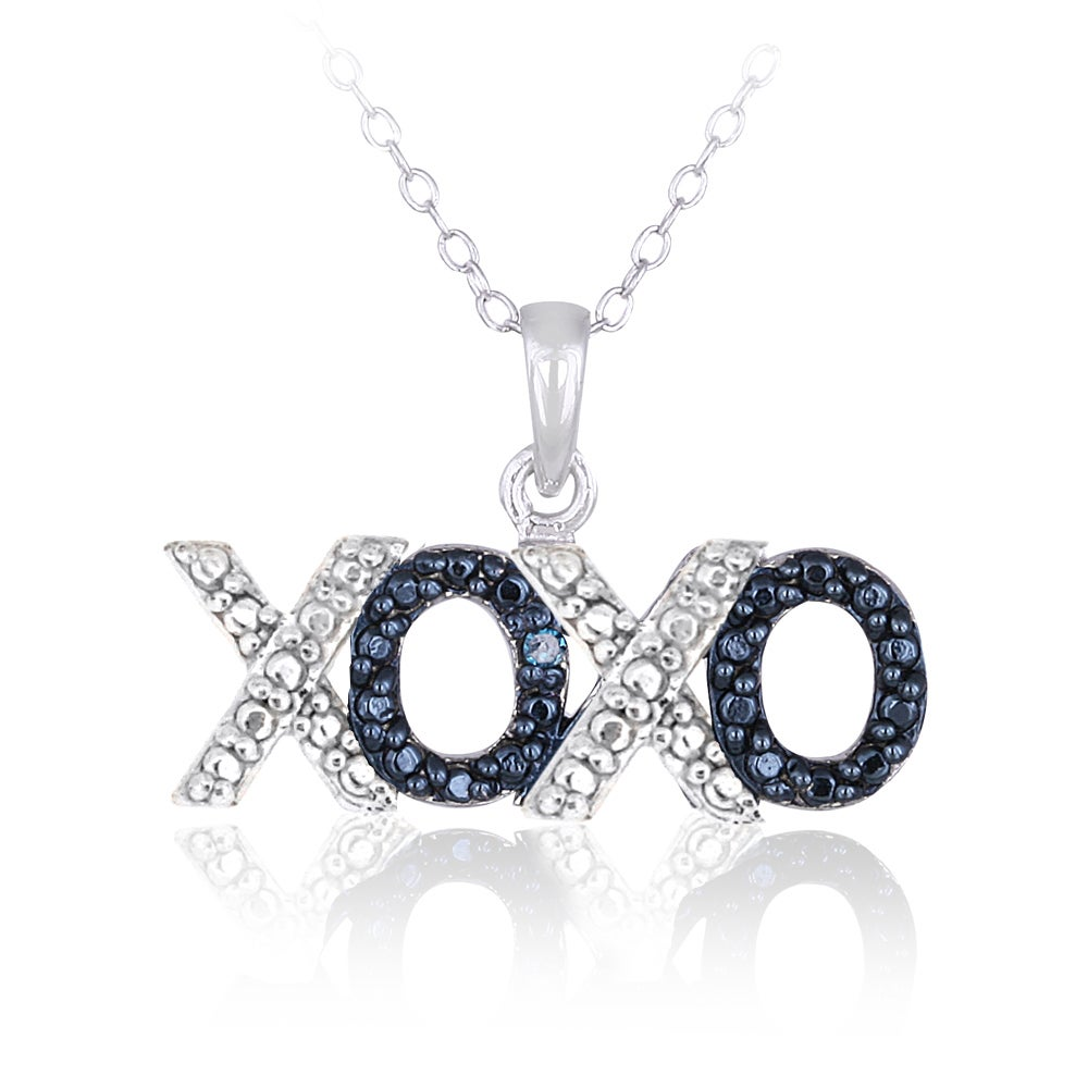 f095a8c2d Shop DB Designs Sterling Silver Blue Diamond Accent Hugs and Kisses Necklace  - On Sale - Free Shipping On Orders Over $45 - Overstock - 9082084