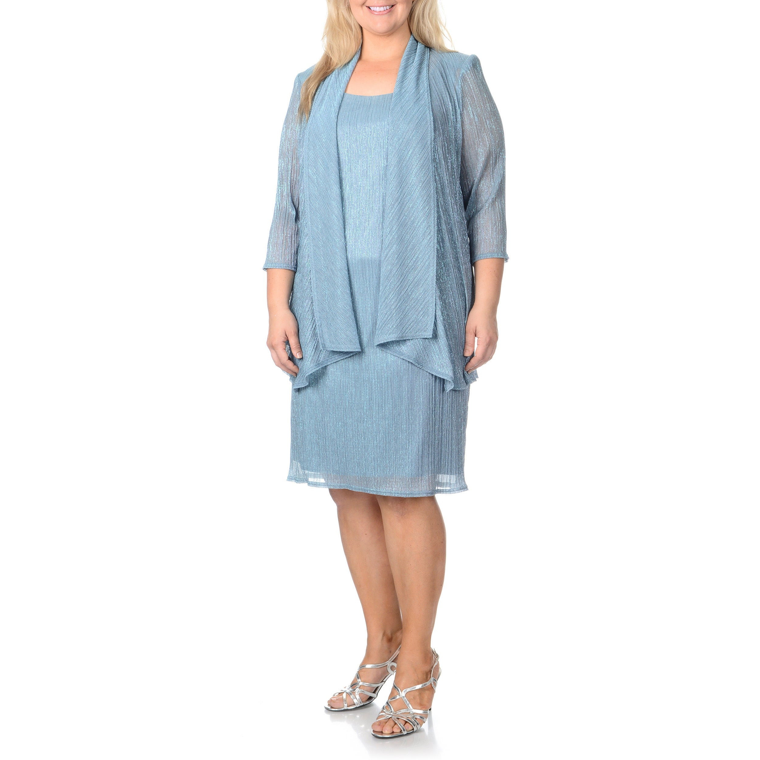 Shop R & M Richards Women\'s Plus Size Fortuny Pleated Metallic 2 ...