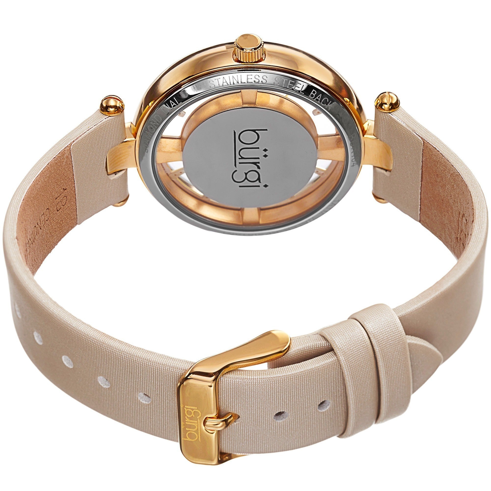 f4ff4e4c0c3 Shop Burgi Women s Diamond Accent Dial Satin Finish Strap Watch - cream  bracelet - On Sale - Free Shipping Today - Overstock - 9082612