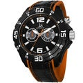 Joshua & Sons Men's Multifunction Swiss Quartz Layered Orange Strap Watch