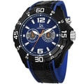 Joshua & Sons Men's Multifunction Swiss Quartz Layered Blue Strap Watch with FREE GIFT