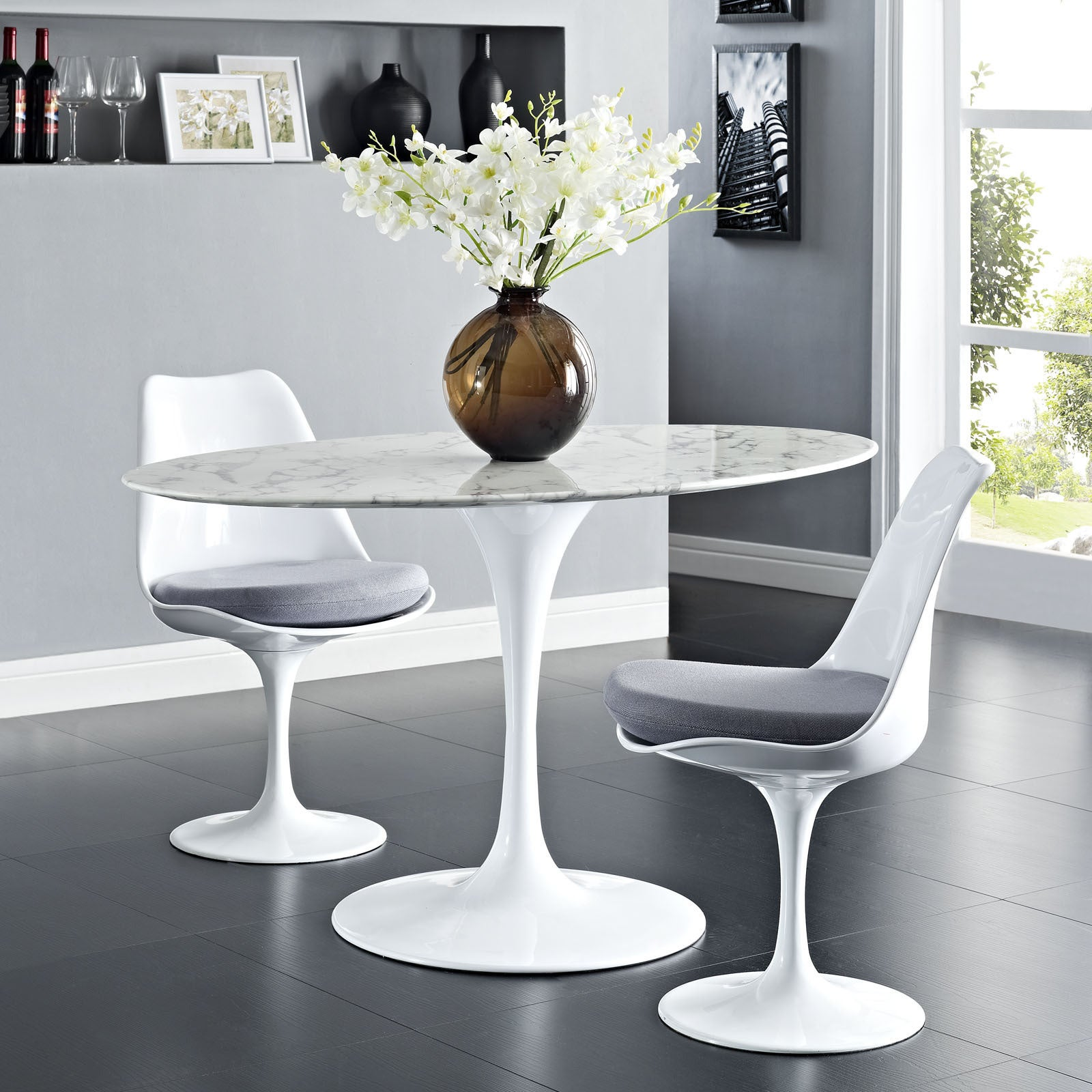 Shop Lippa Marble 54 White Oval Shaped Dining Table On Sale
