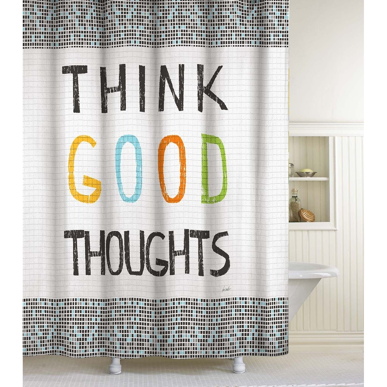 Shop Think Good Thoughts Shower Curtain - Free Shipping On Orders ...