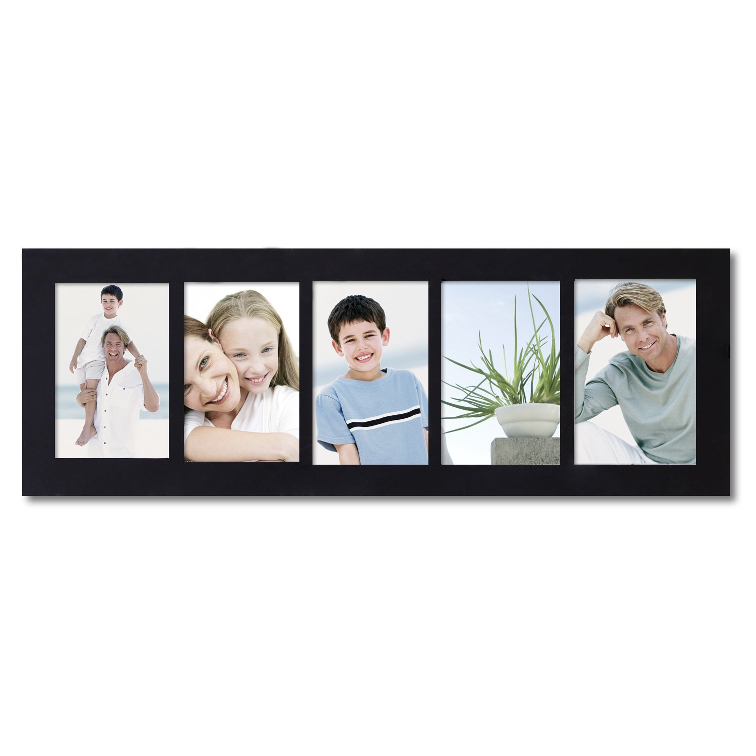 Adeco Decorative Black Wood Wall Hanging Picture Frame with 5 ...