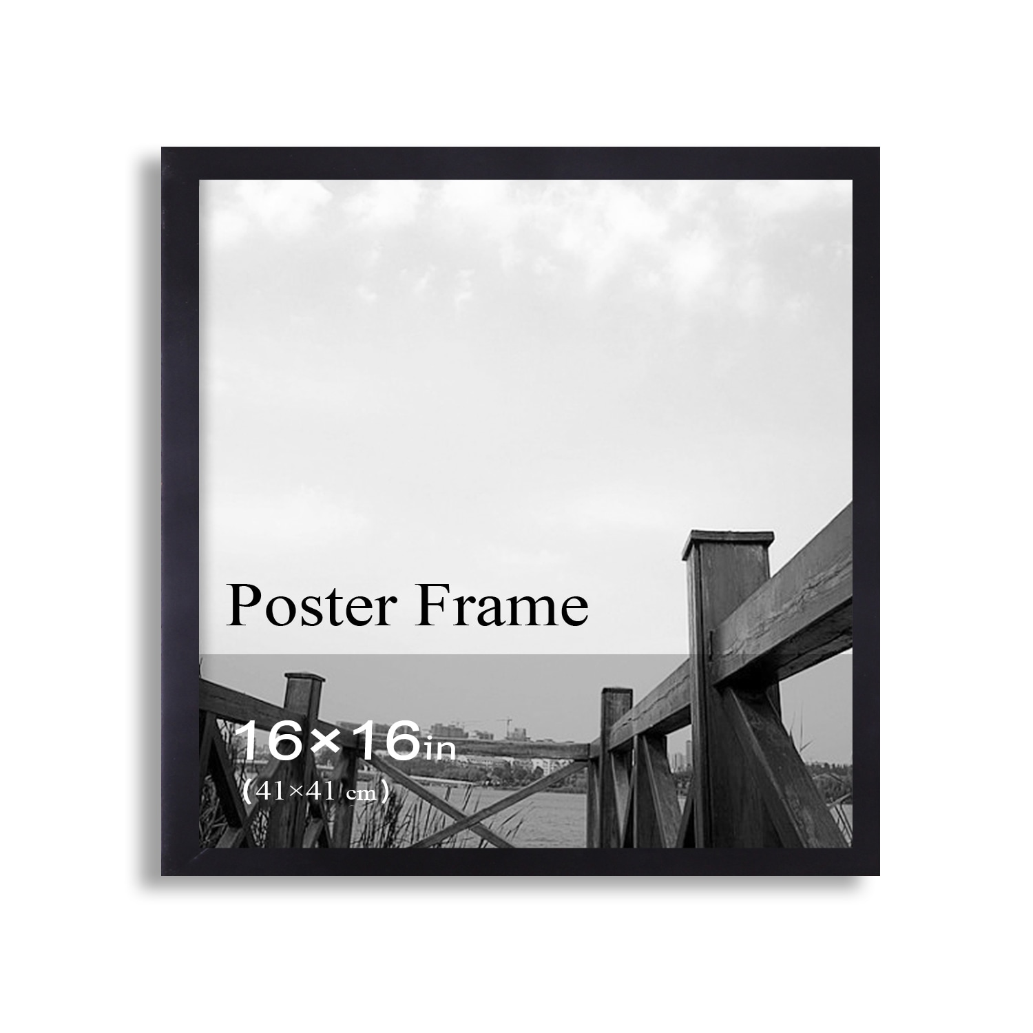 Adeco Clear Plexiglass Window Black Poster Frame (16 x 16 inches ...