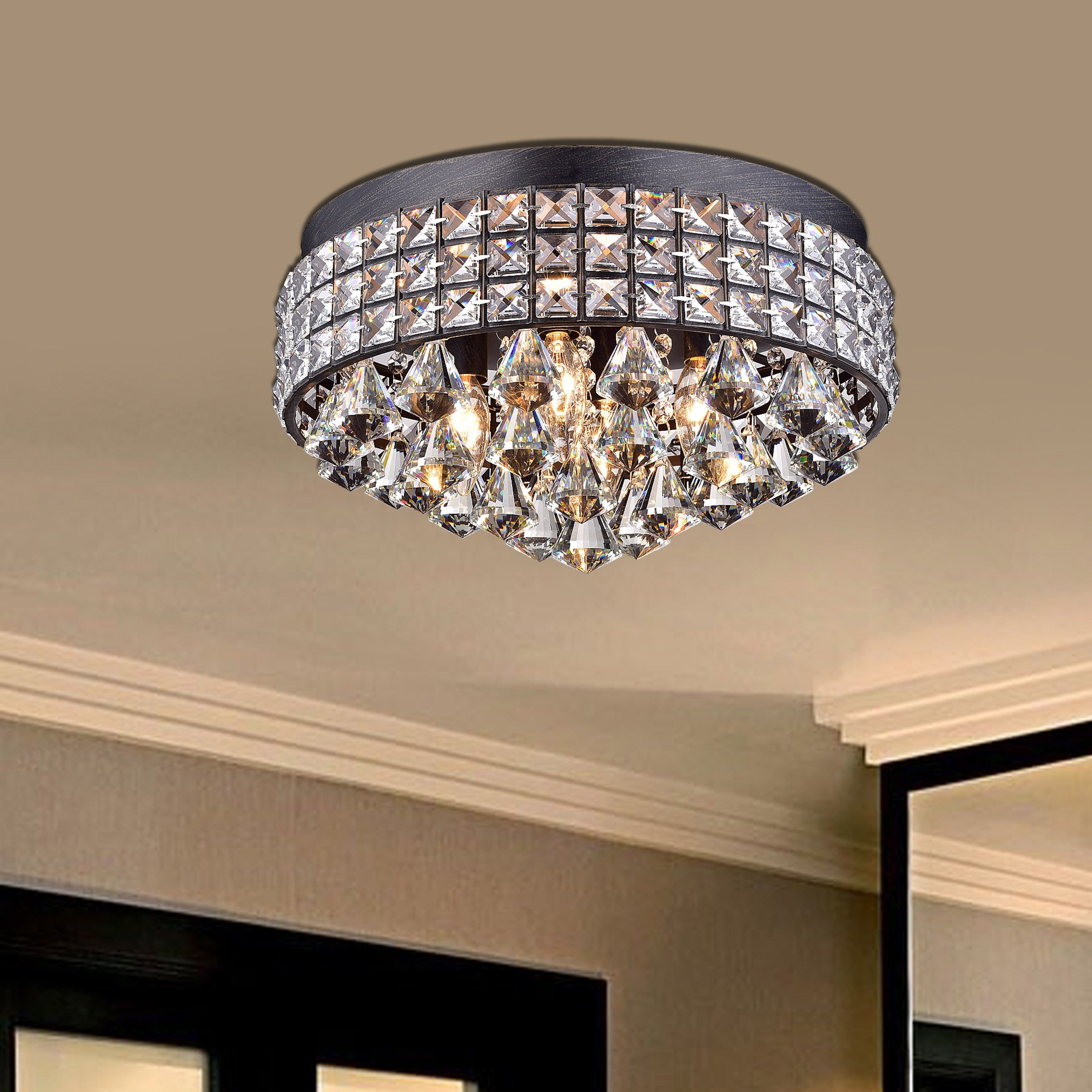 Silver Orchid Taylor Iron Shade Crystal Flush Mount Chandelier On Free Today Com 20253968