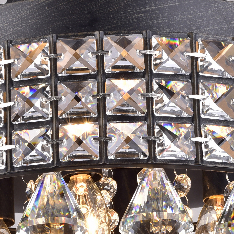 Jolie iron shade crystal flush mount chandelier free shipping jolie iron shade crystal flush mount chandelier free shipping today overstock 16276264 arubaitofo Images