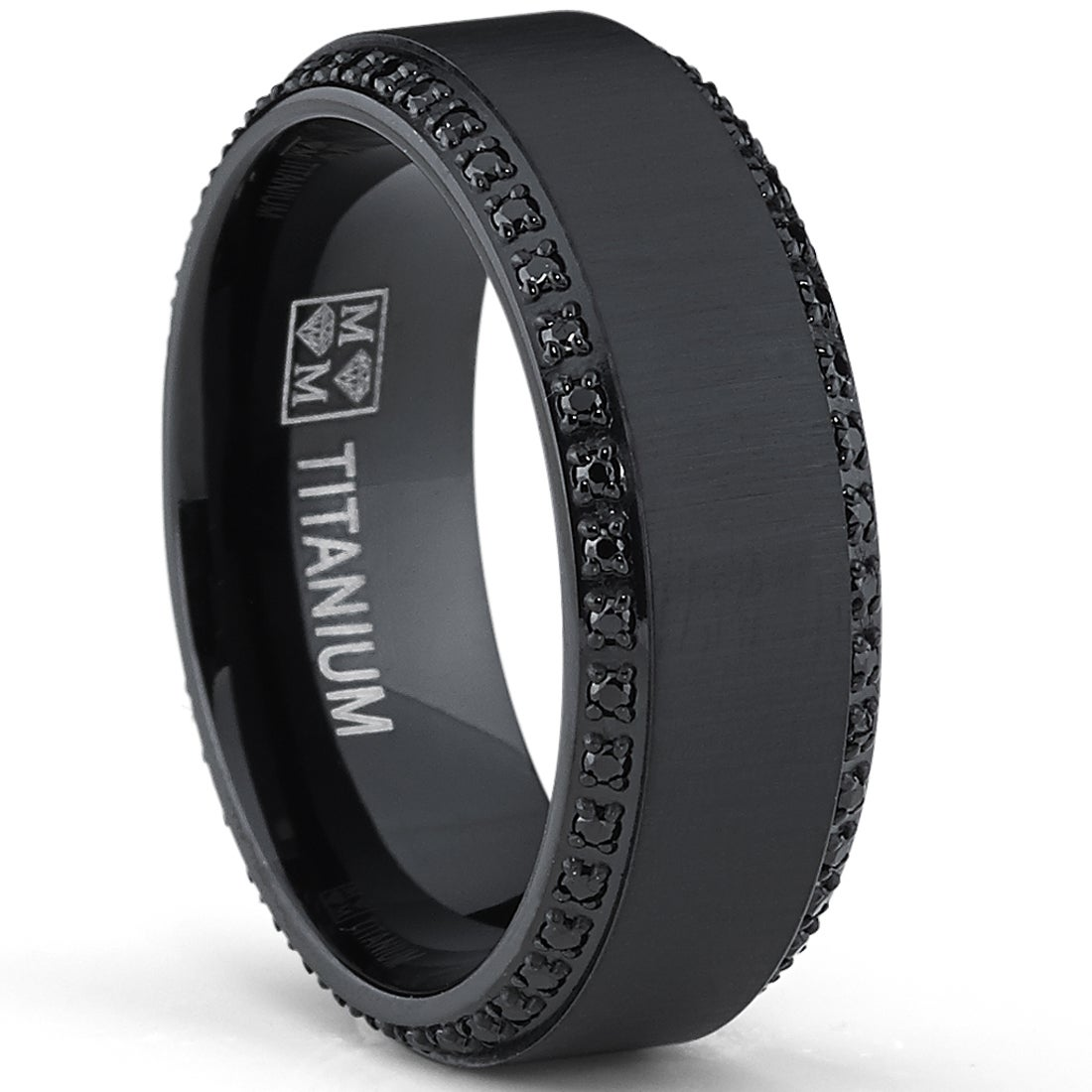 Shop Oliveti Black Plated Titanium Menu0027s Black Cubic Zirconia Comfort Fit  Wedding Band (8 Mm)   Free Shipping On Orders Over $45   Overstock.com    9086590