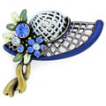Base Metal Blue Hat Pin Crystal Brooch Pin