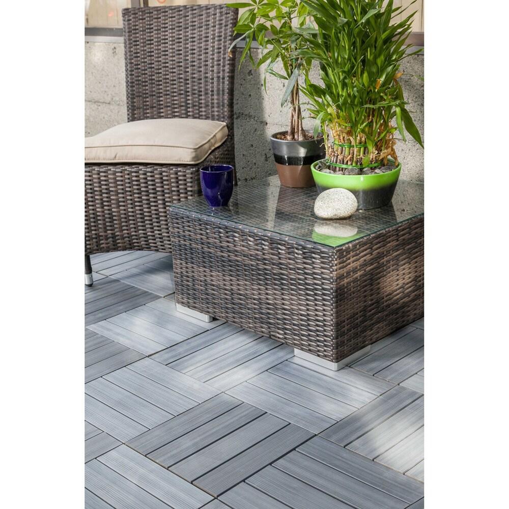 Kontiki Driftwood 12 X Inch Composite Interlocking Quickdeck Tiles Free Shipping Today 9086916