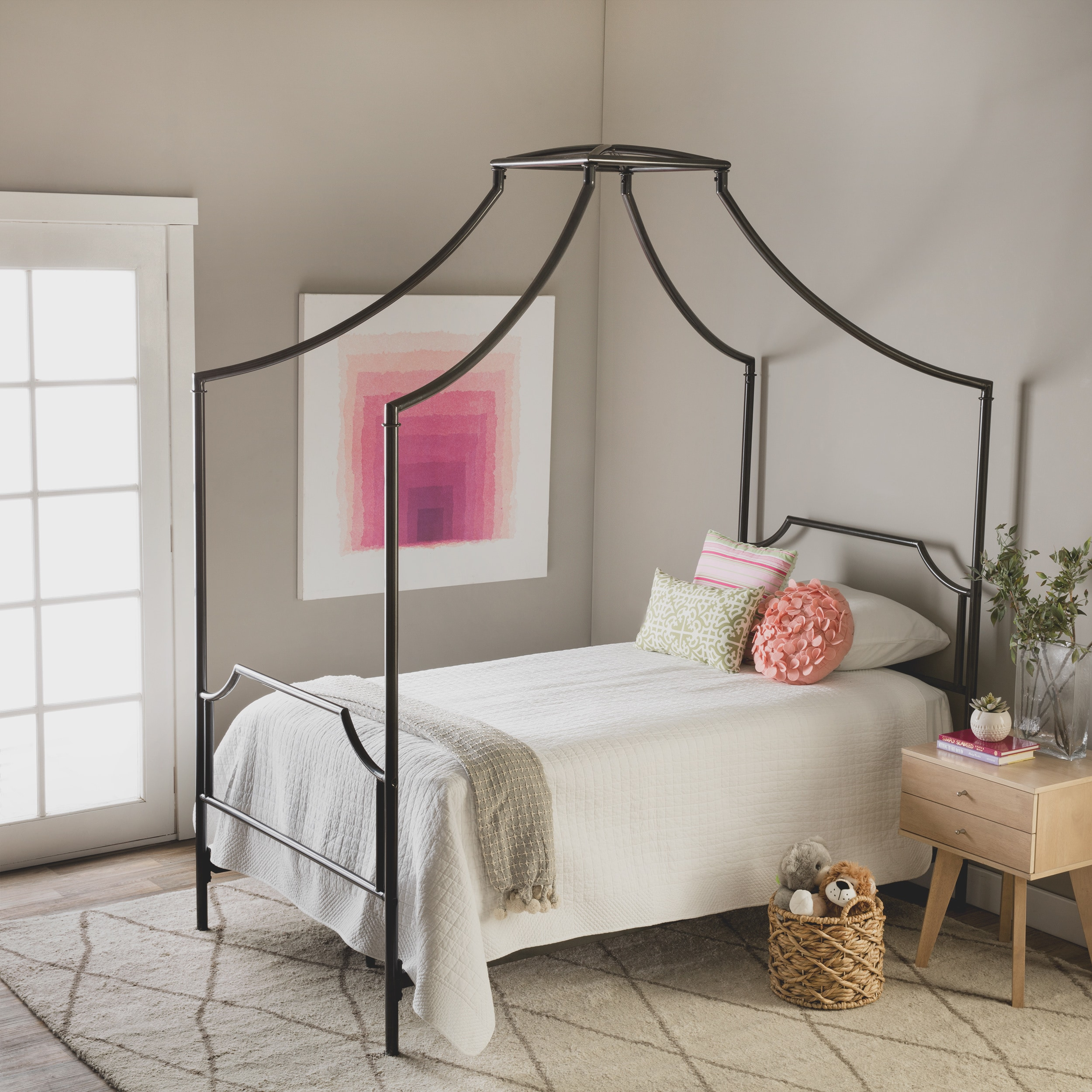 The Curated Nomad Bailey Twin Size Metal Canopy Bed Free Shipping Today 9086920
