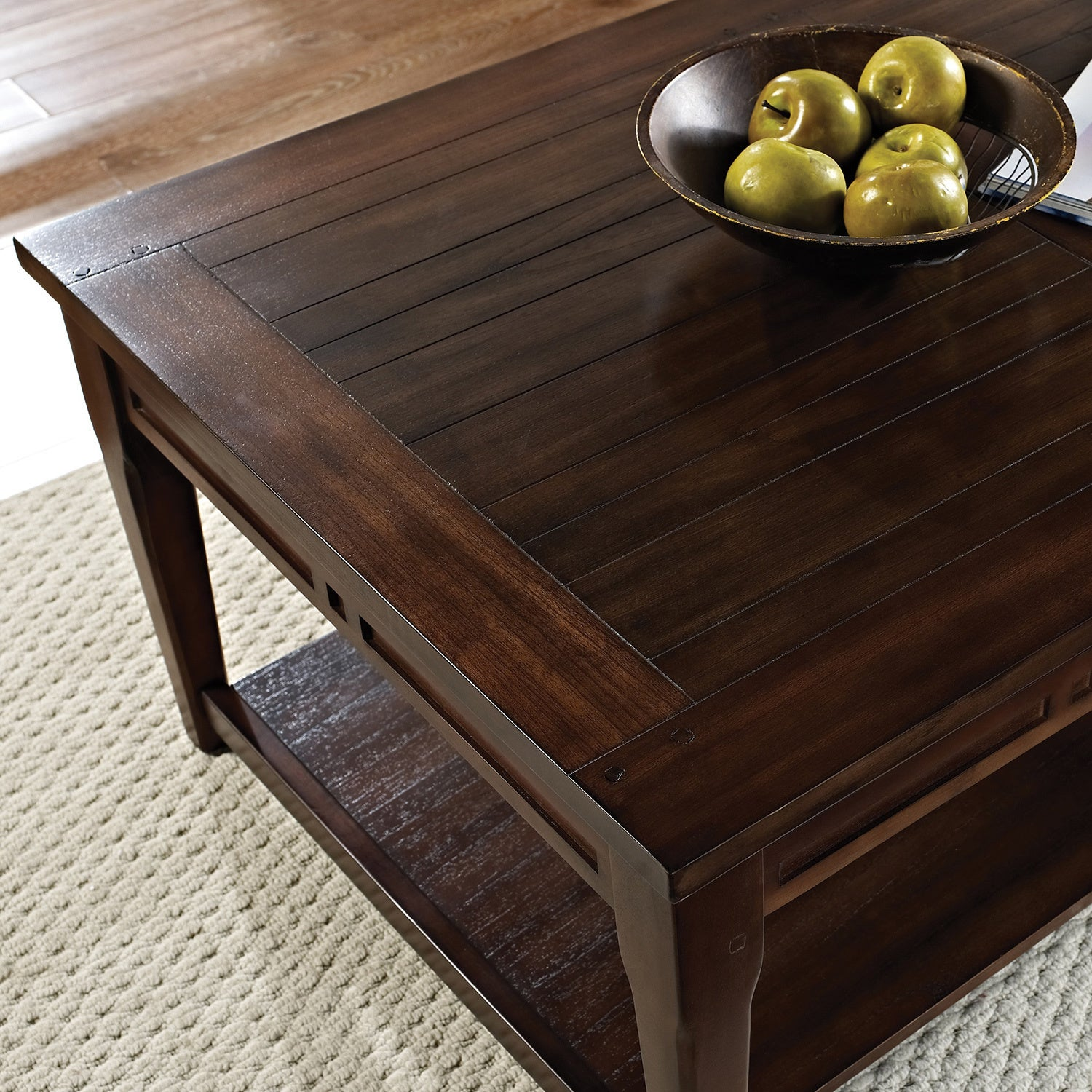 Crosby Mocha Cherry Lift top Coffee Table with Casters by Greyson