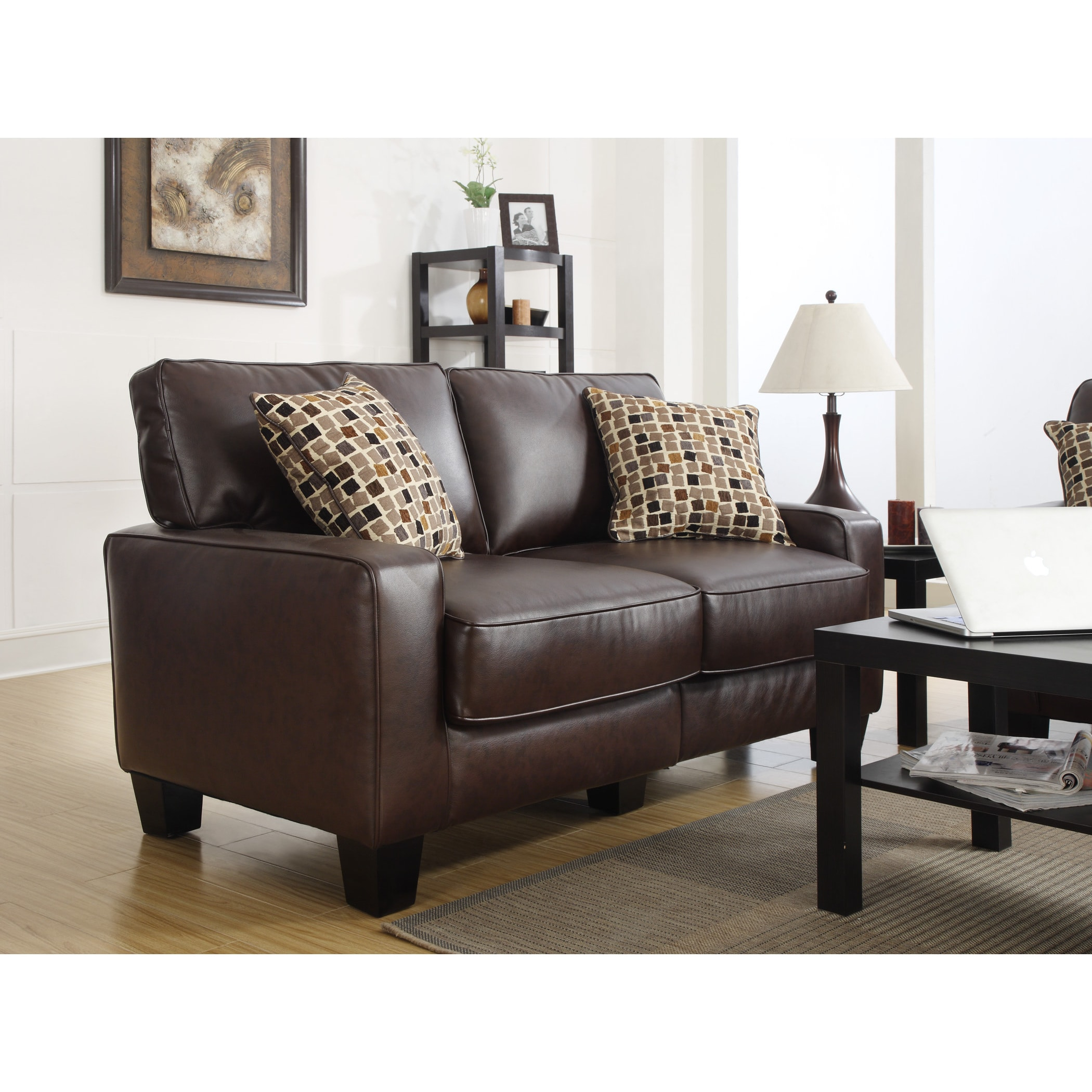 Serta Rta Monaco Collection 60 Inch Brown Leather Sofa Free Shipping Today 9088995