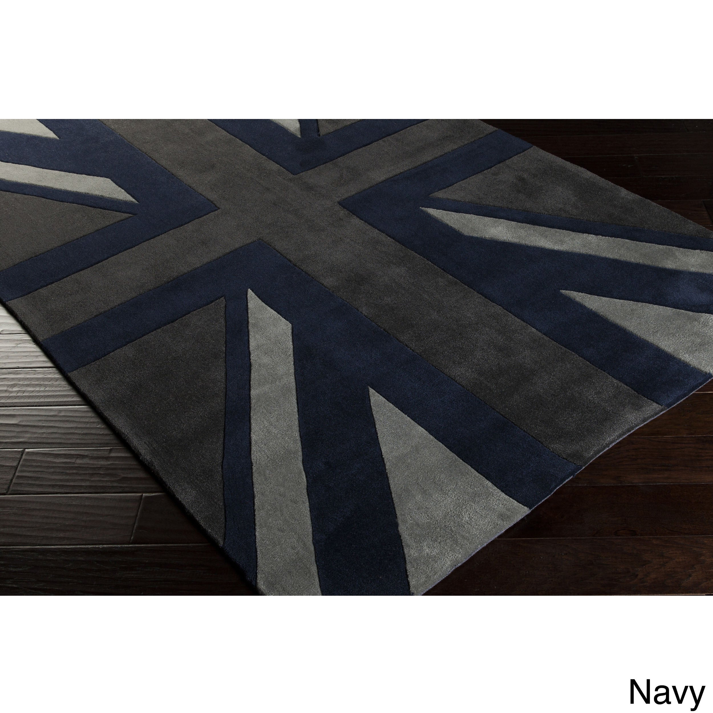 Hand Tufted Union Jack Novelty Contemporary Area Rug 8 X 11 Free Shipping Today Com 16278703