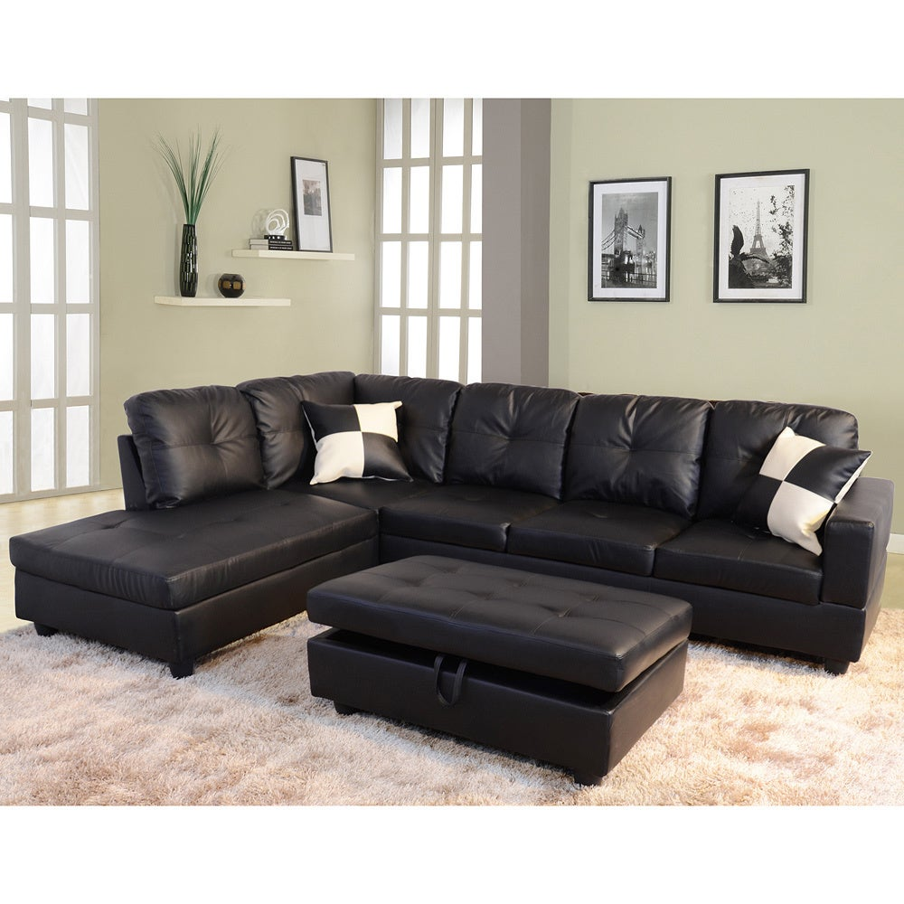 Shop delma 3 piece faux leather left facing chaise sectional set free shipping today overstock com 9089208