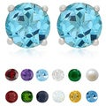 Dolce Giavonna Sterling Silver Gemstone 6 mm Birthstone Stud Earrings