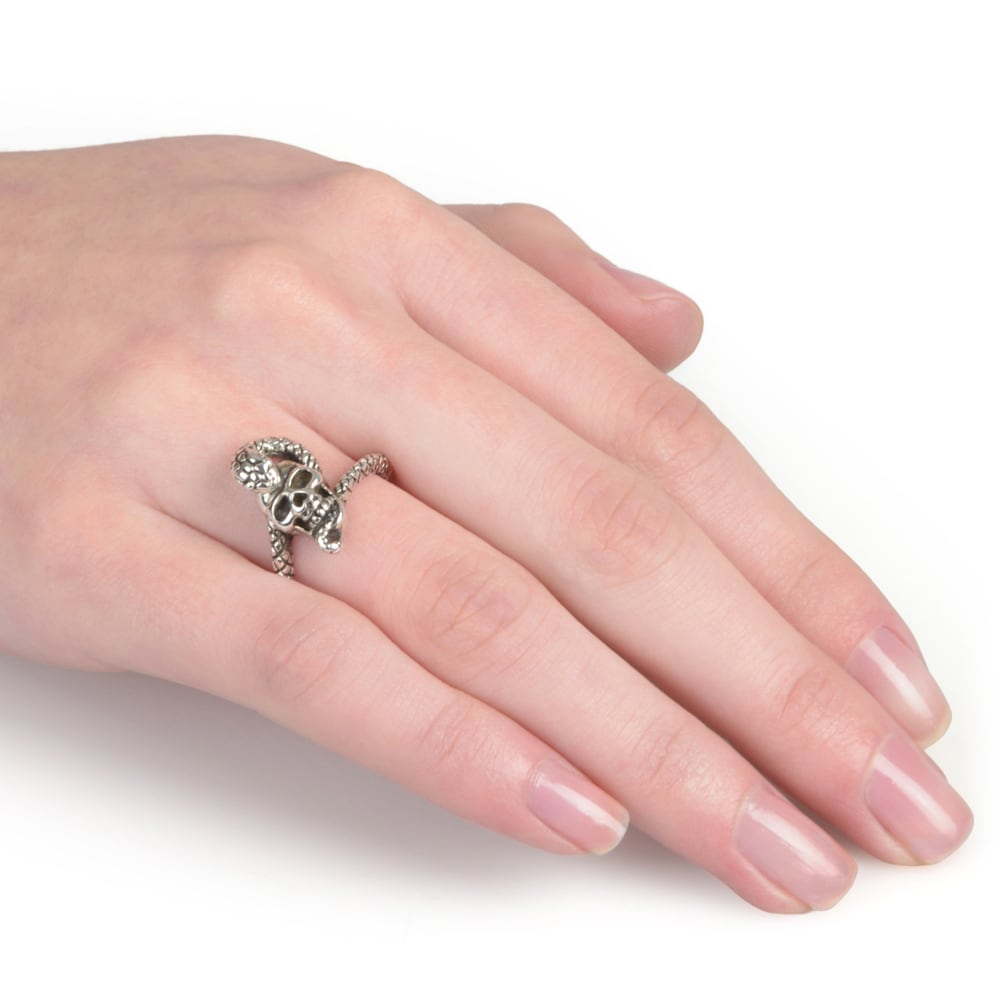 Journee Collection Sterling Silver Skull Snake Ring - Free Shipping ...