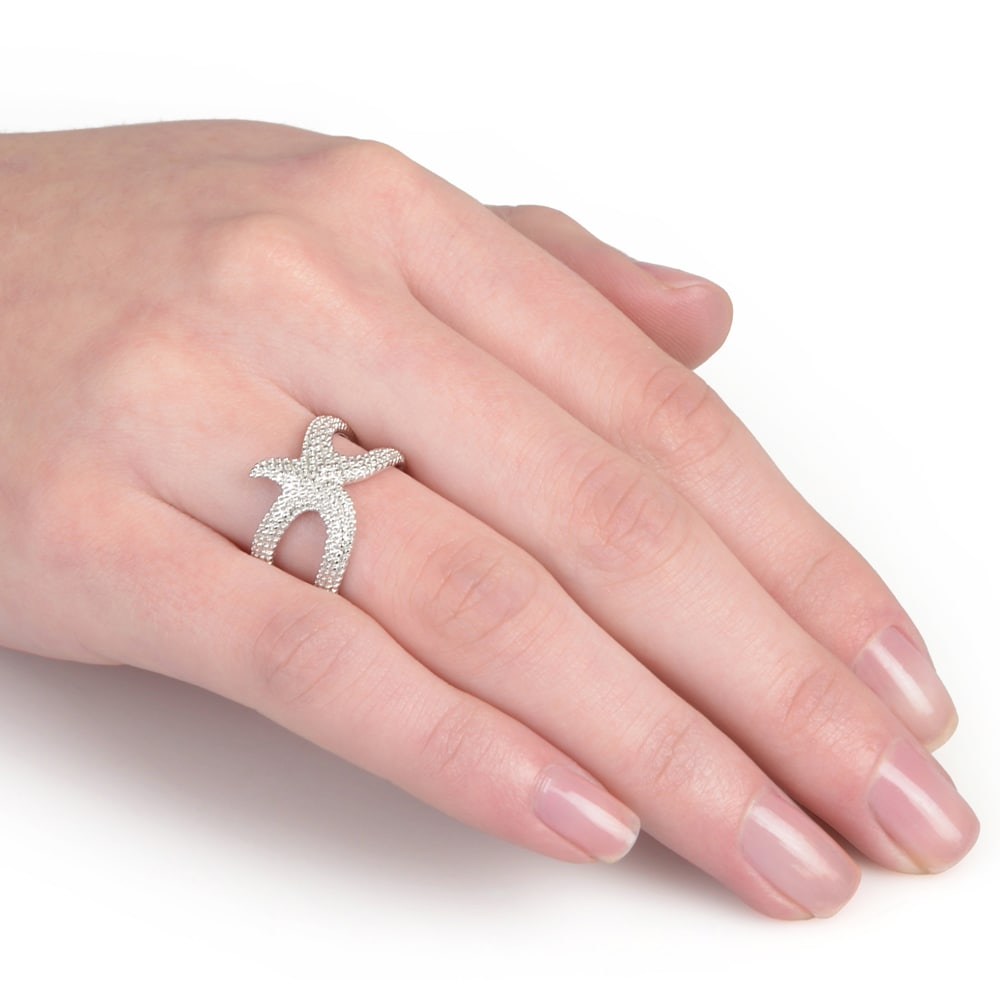 Journee Collection Sterling Silver Starfish Ring - Free Shipping On ...