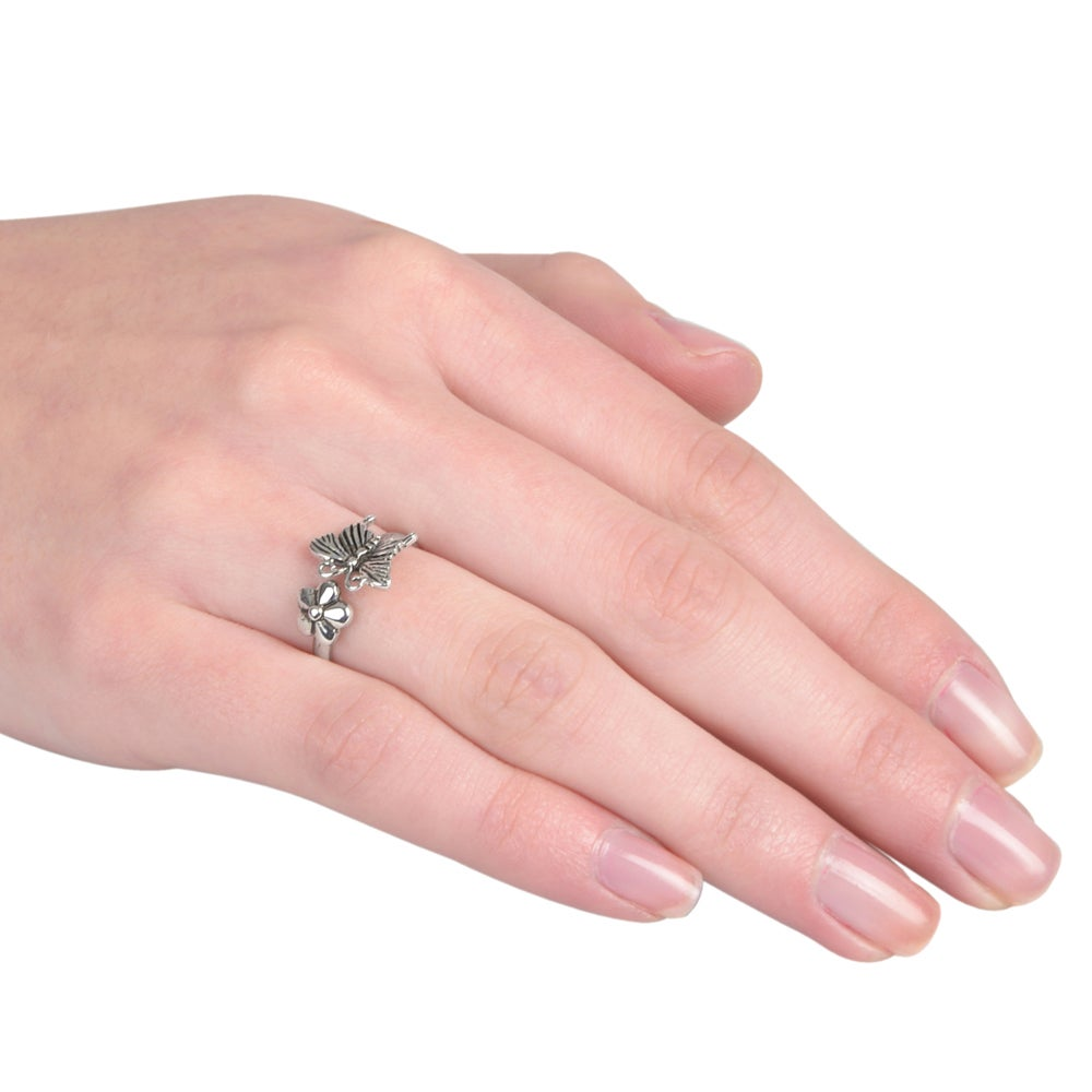 Journee Collection Sterling Silver Butterfly Ring - Free Shipping On ...