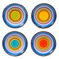 Tequila Sunrise 6-inch Assorted Ceramic Canape Plates (Set of 4)