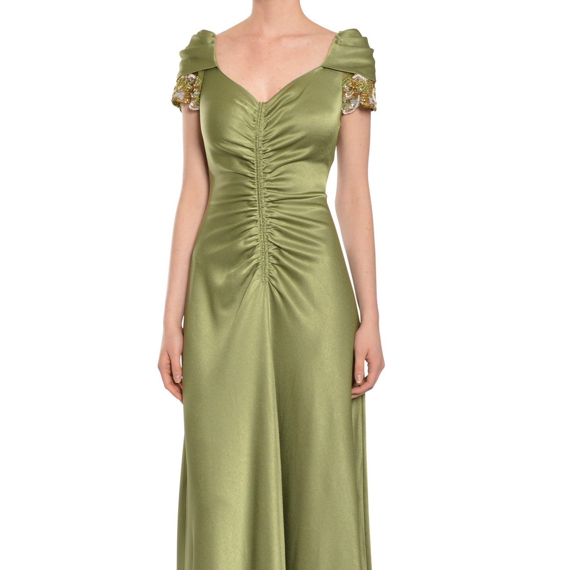 Shop Teri Jon Women\'s Green Beaded Evening Gown - Free Shipping ...