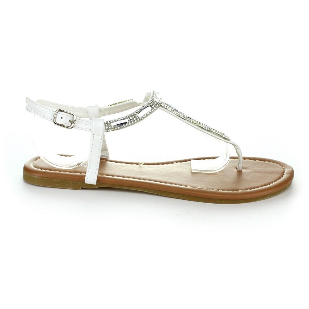 Top Moda Women's 'AI-16' Rhinestone T-strap Casual Sandals