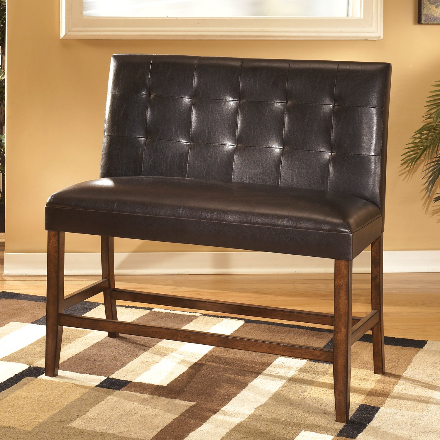 Lacey Medium Brown 24 inch Faux Leather Double Bar Stool Set of 2