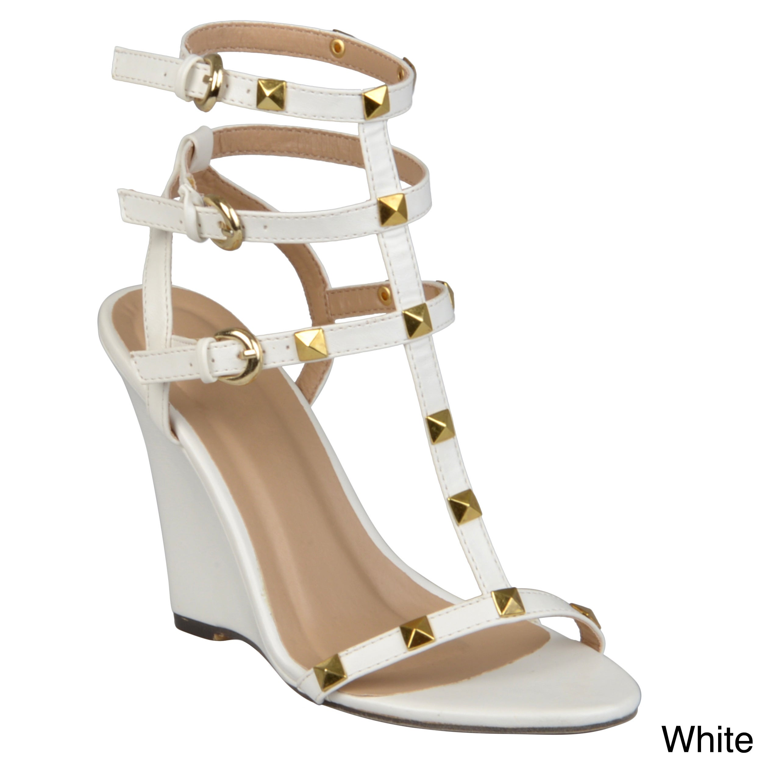 d701feae407d Shop Journee Collection Women s  Jaida-8  Studded T-strap Wedges - Free  Shipping On Orders Over  45 - Overstock.com - 9100236