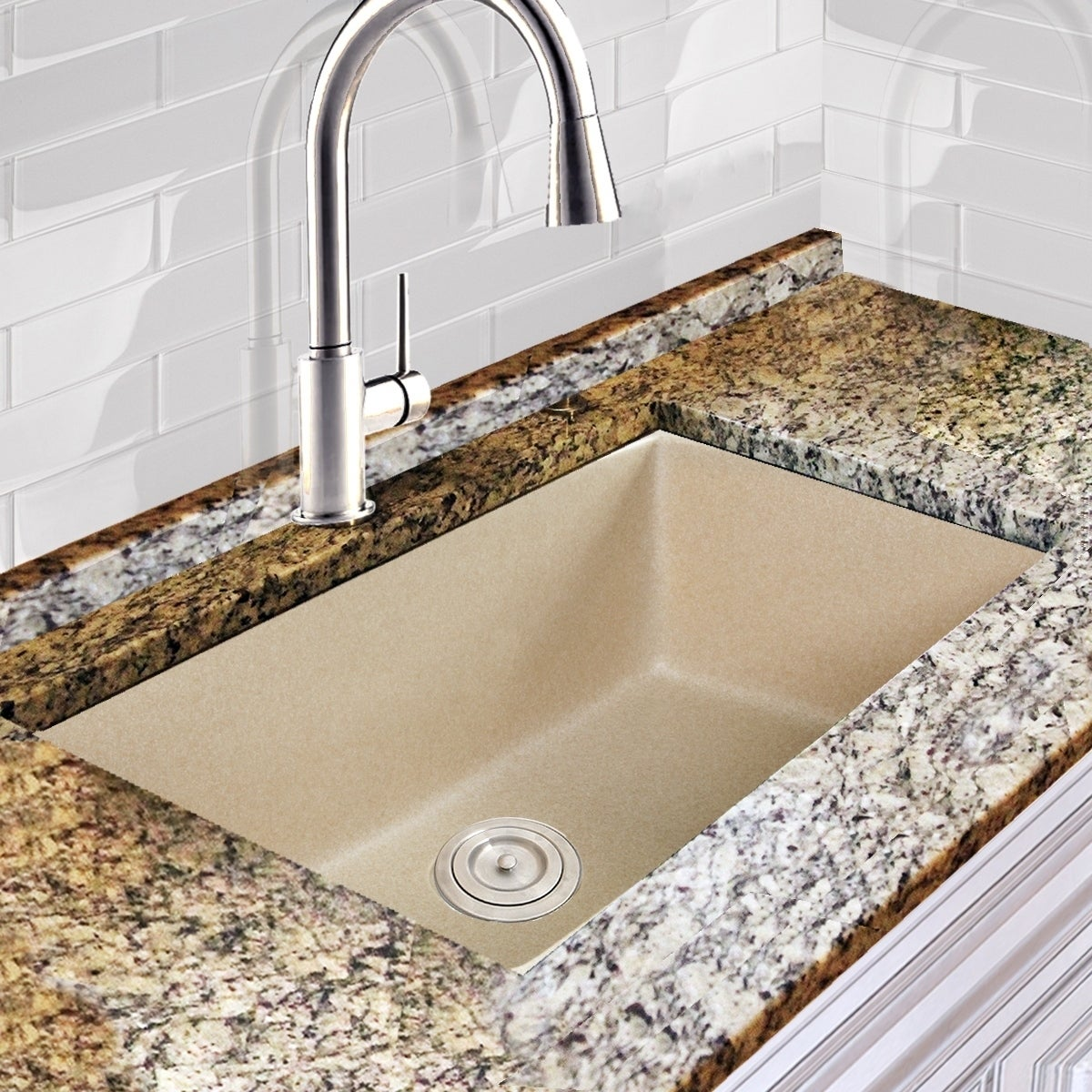 Highpoint Collection Granite Composite 33 Inch Single Bowl Sand Undermount Kitchen Sink With 9 1 2 Depth Free Shipping Today