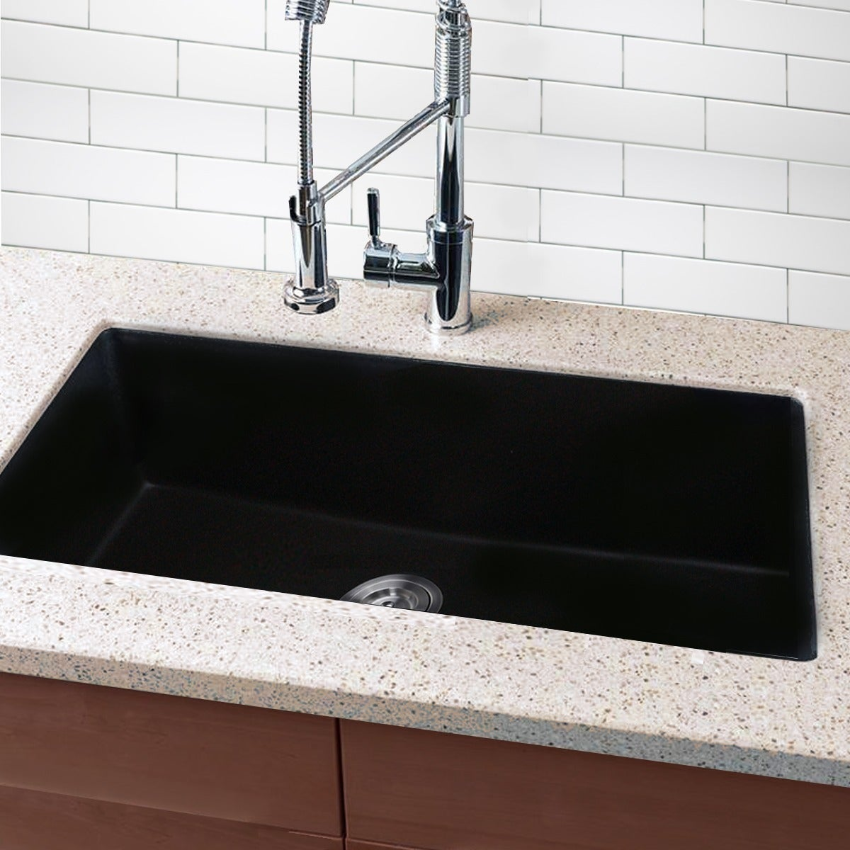 Highpoint Collection Granite Composite 33 Inch Single Bowl Black Undermount Kitchen Sink Free Shipping Today 9103014