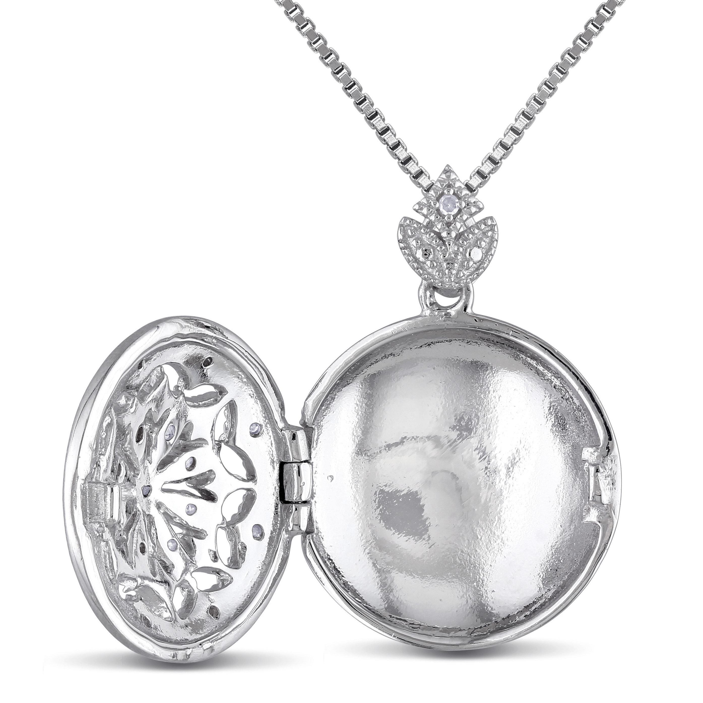d4ed617c52d90 Miadora Sterling Silver Vintage 1/10ct TDW Diamond Locket Floral Drop  Necklace