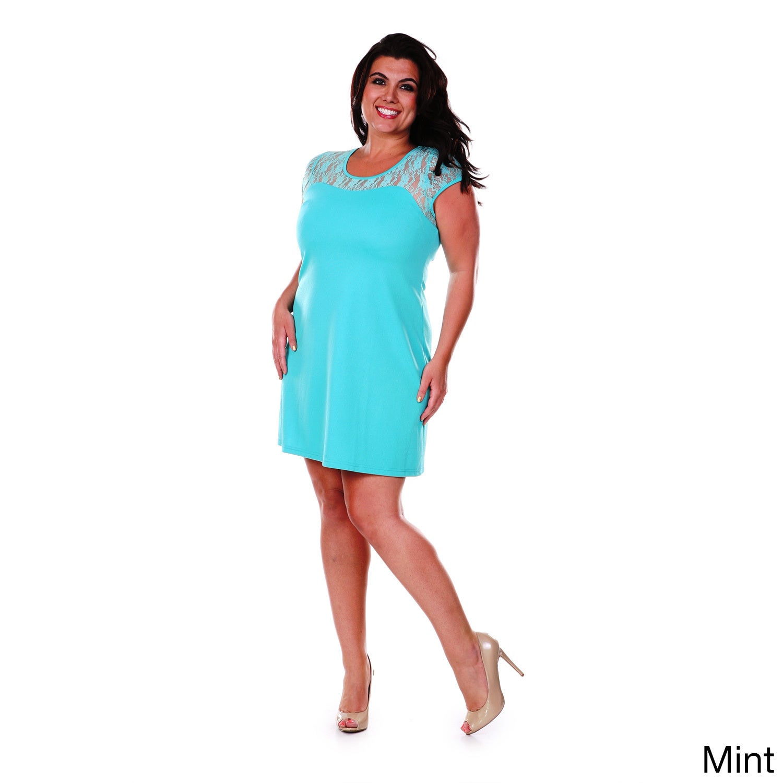 White Mark Women\'s Plus Size Lace Cut-out Dress - Free Shipping ...