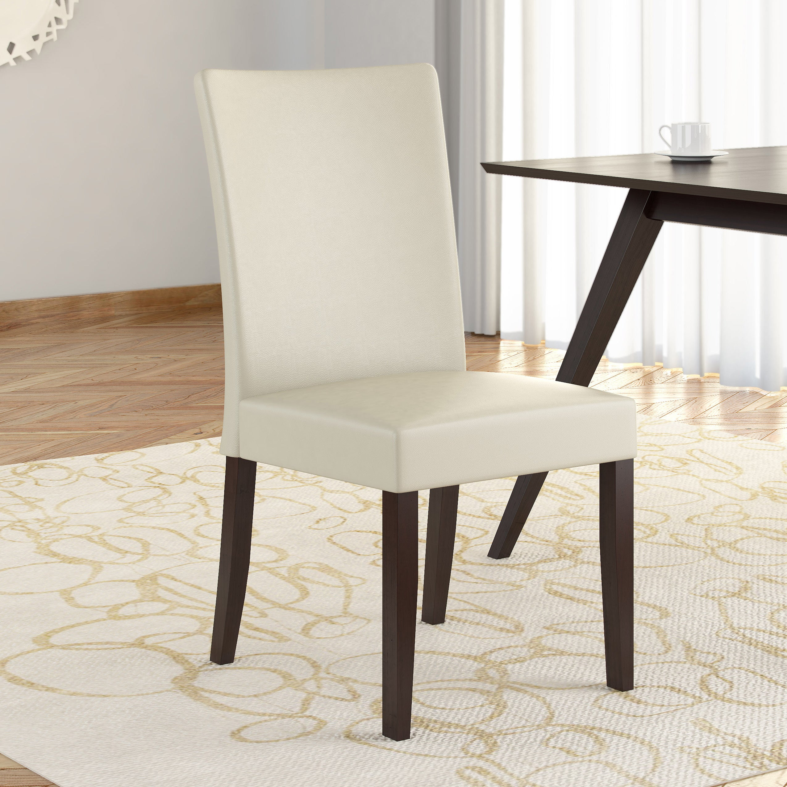 CorLiving Atwood Cream Leatherette Dining Chairs (Set of 2) - Free ...