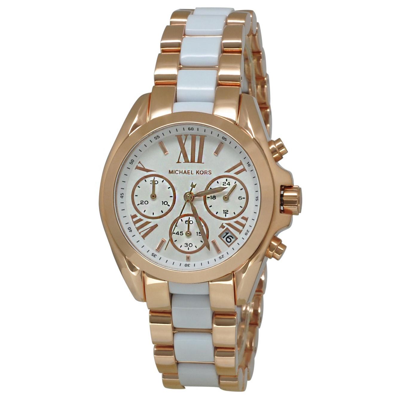 9c0aeca35f0a Shop Michael Kors Women s MK5907 Bradshaw Mini Rose Gold Watch - Free  Shipping Today - Overstock - 9104383