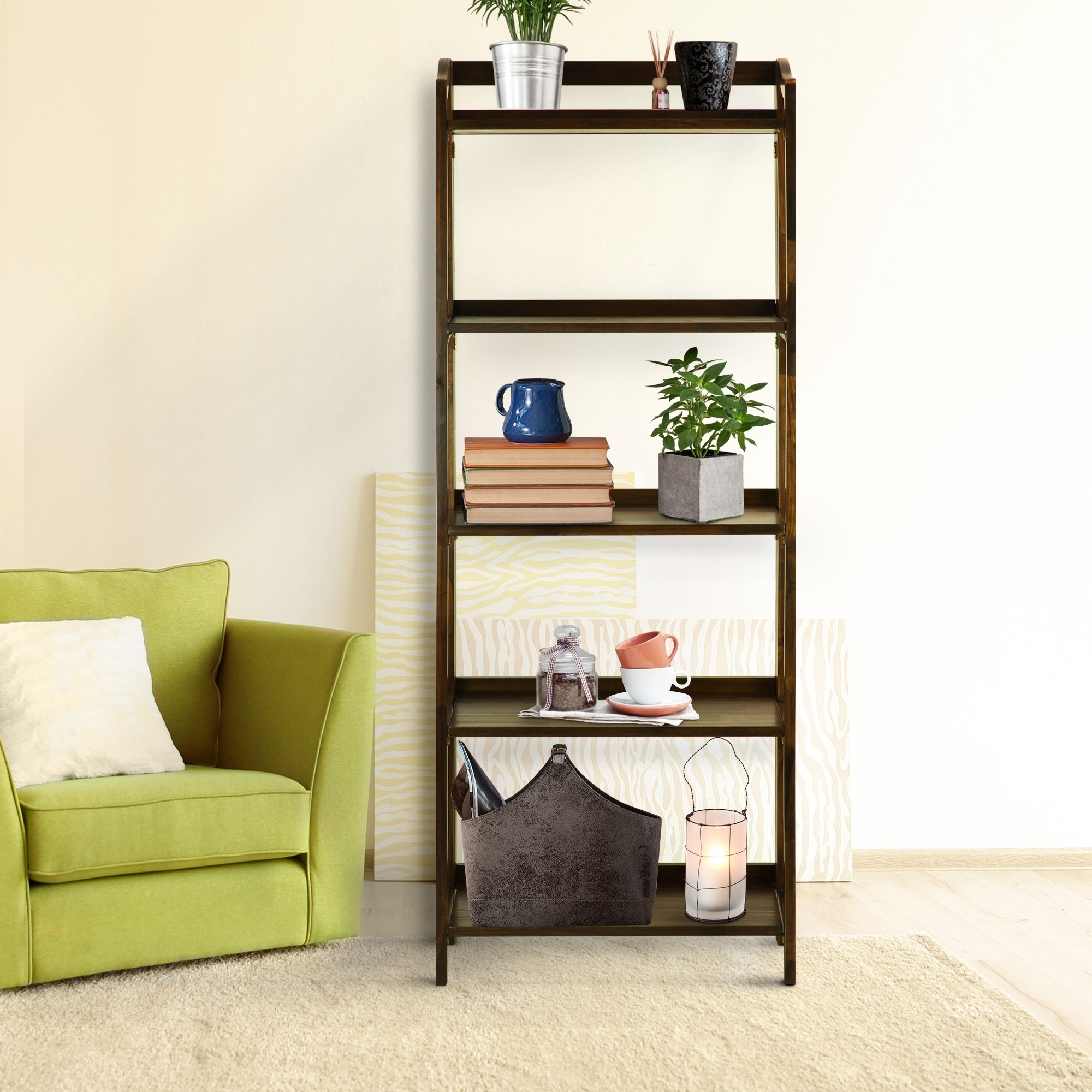 Stratford 5-shelf Folding Bookcase - Free Shipping Today - Overstock.com -  16293089