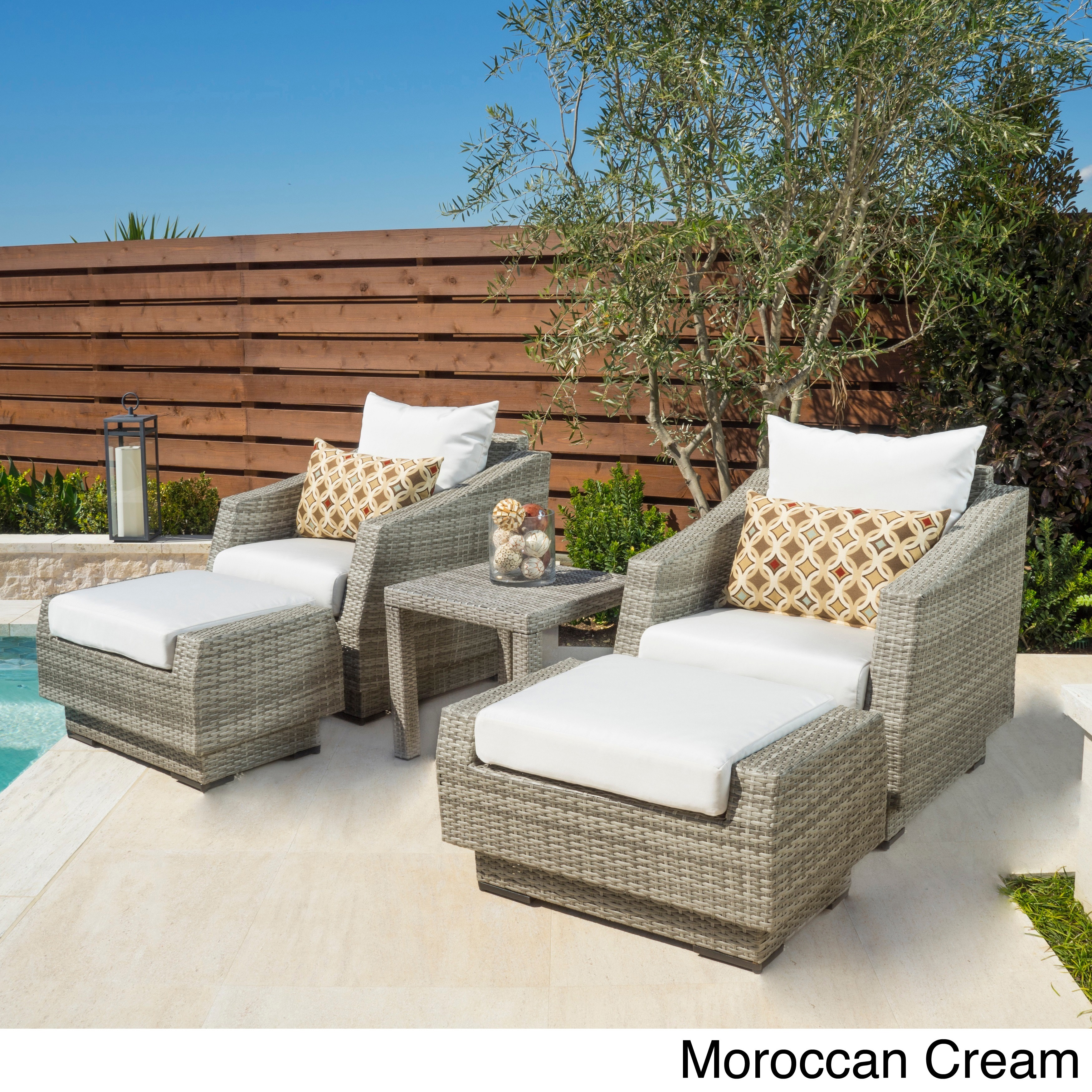 Delicieux Shop RST Brands Cannes 5 Piece Club Chair, Ottomans And Side Table   Free  Shipping Today   Overstock.com   9106830